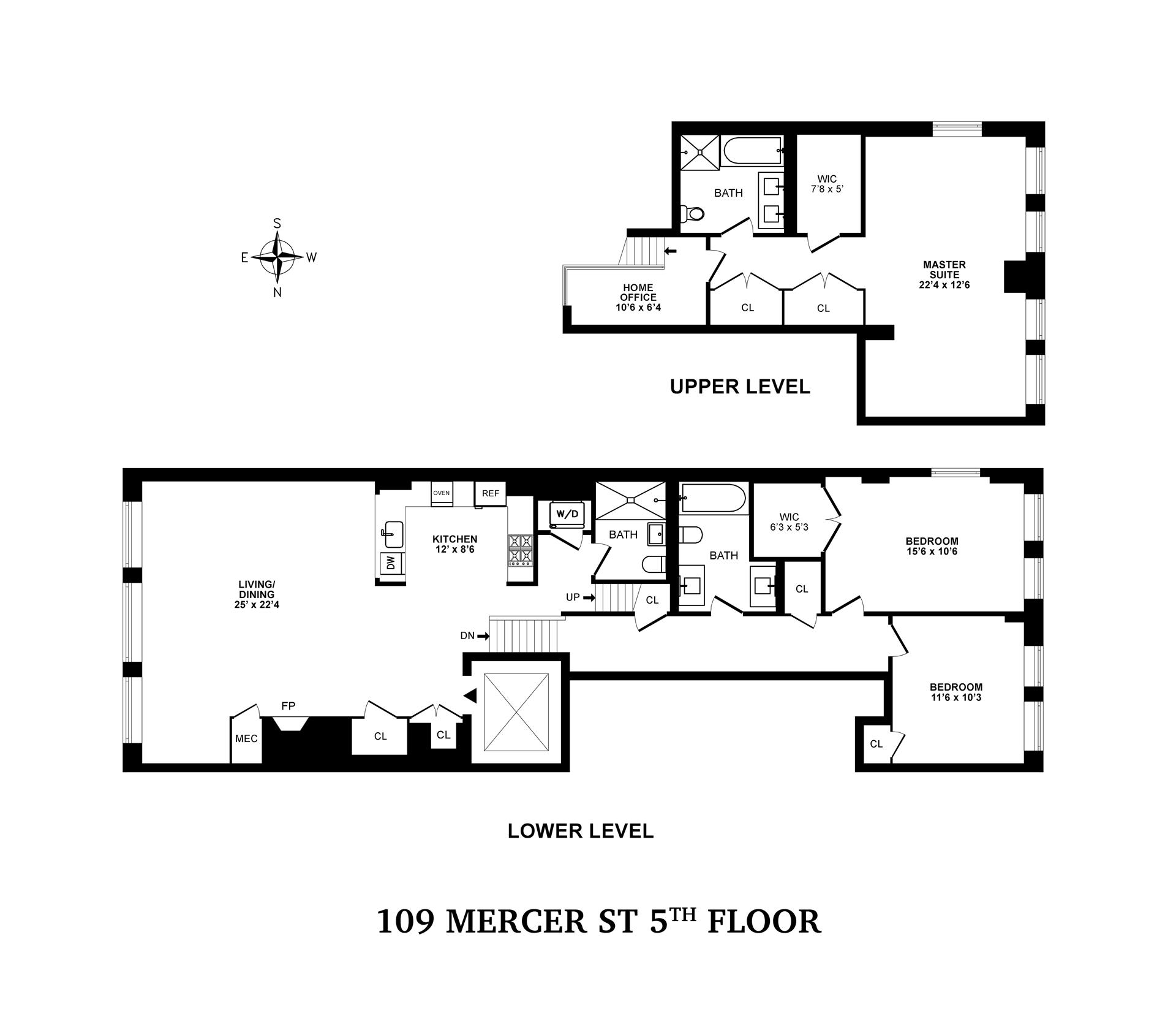Floor plan of 109 MERCER ST, 5 - SoHo - Nolita, New York