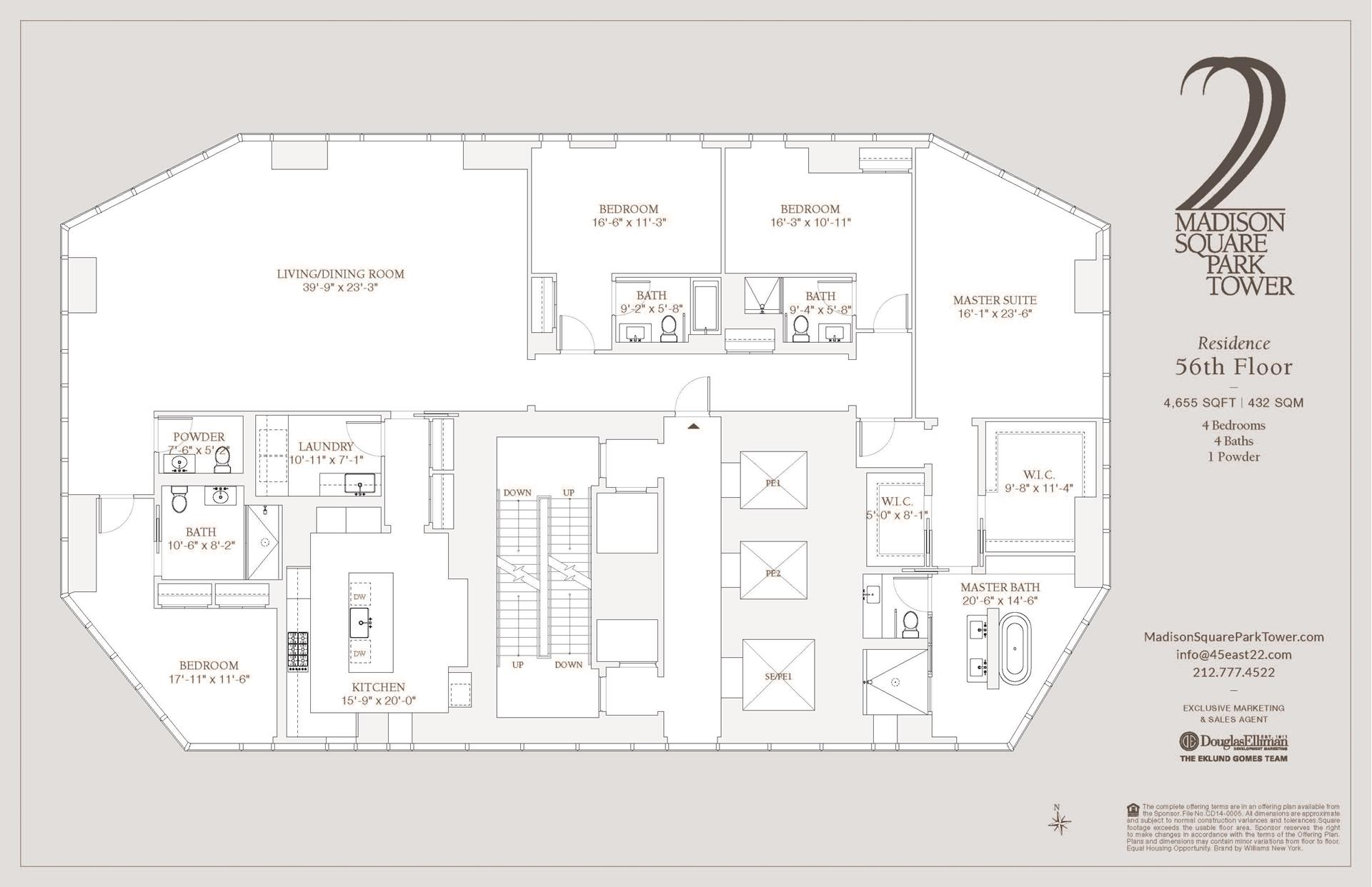 Floor plan of Madison Square Park Tower, 45 East 22nd St, 56FL - Flatiron District, New York