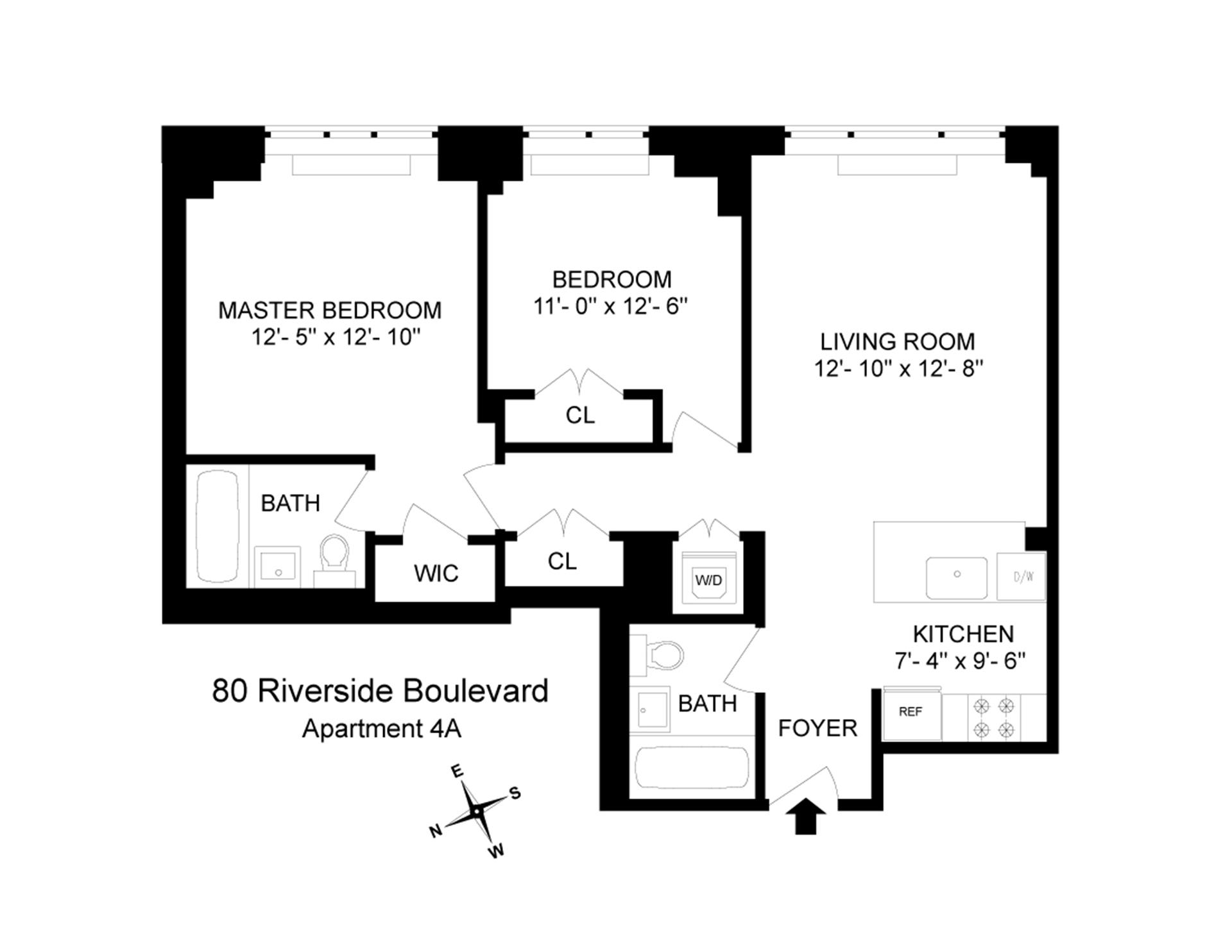 Floor plan of The Rushmore, 80 Riverside Boulevard, 4A - Upper West Side, New York