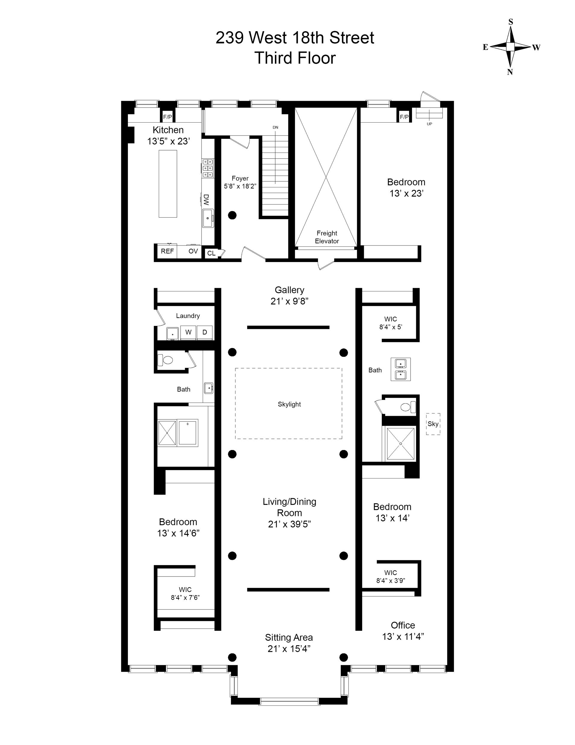 Floor plan of 239-243 West 18th St - Chelsea, New York