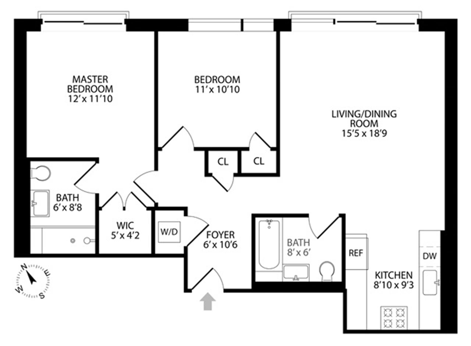 Floor plan of 267 Evergreen Avenue, 2C - Bushwick, New York