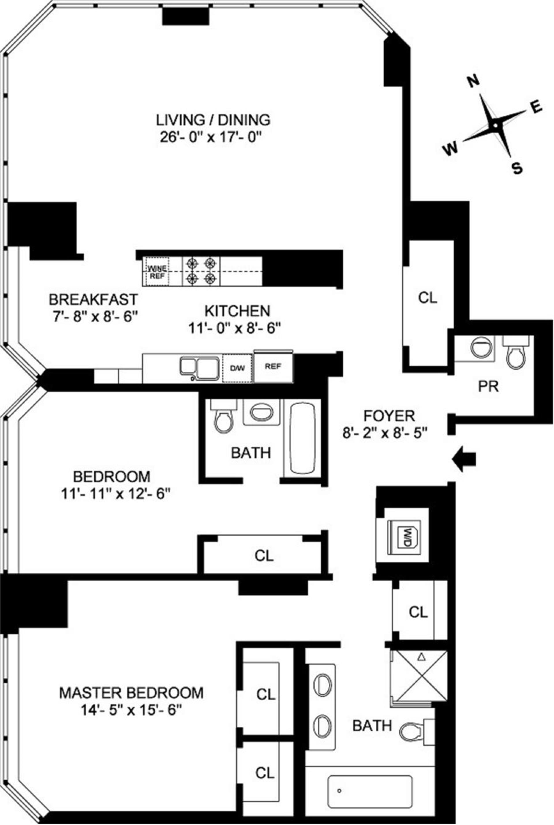 Floor plan of 300 East 55th St, 27B - Midtown, New York