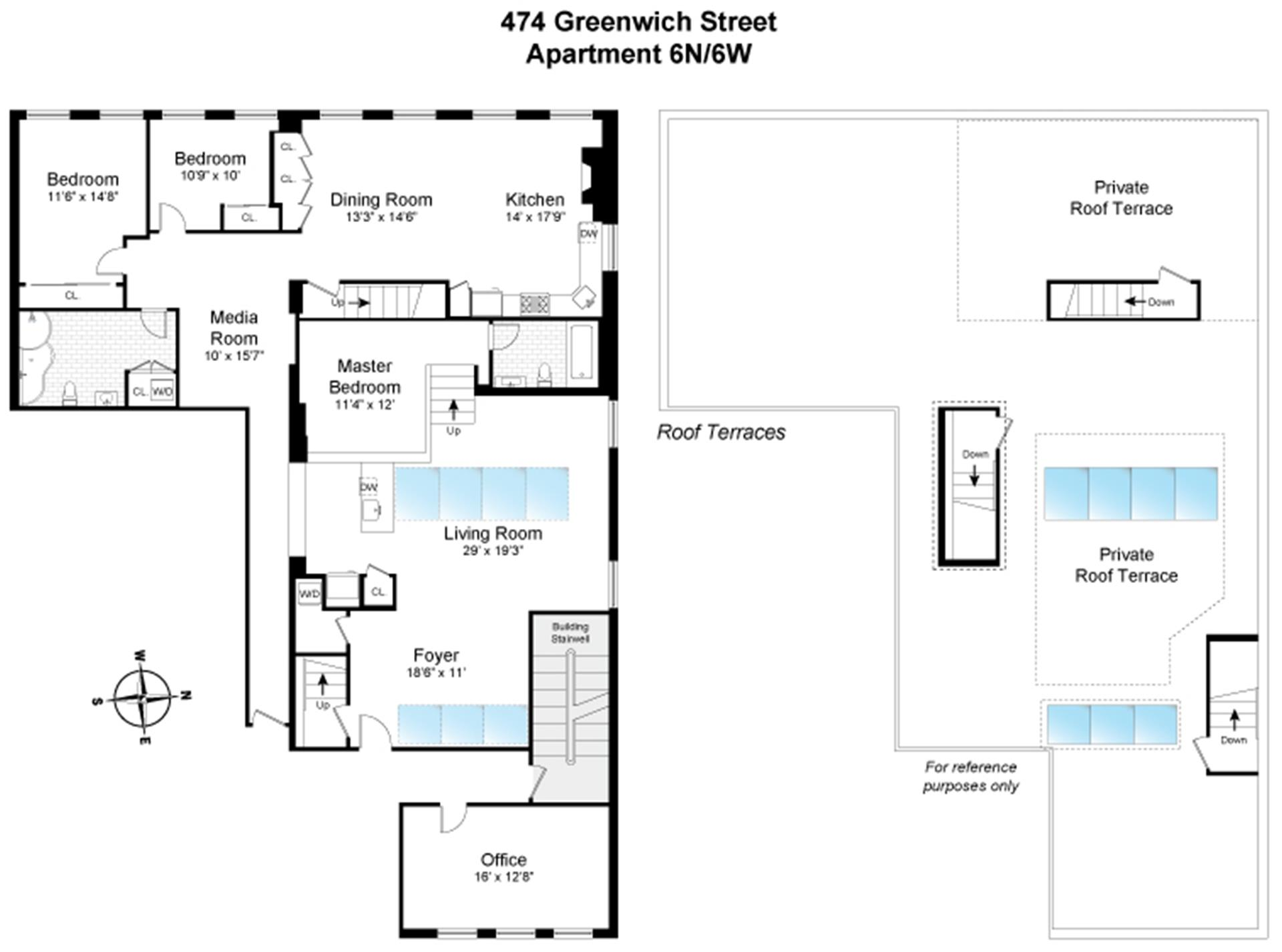Floor plan of 474 Greenwich St, 6NW - TriBeCa, New York