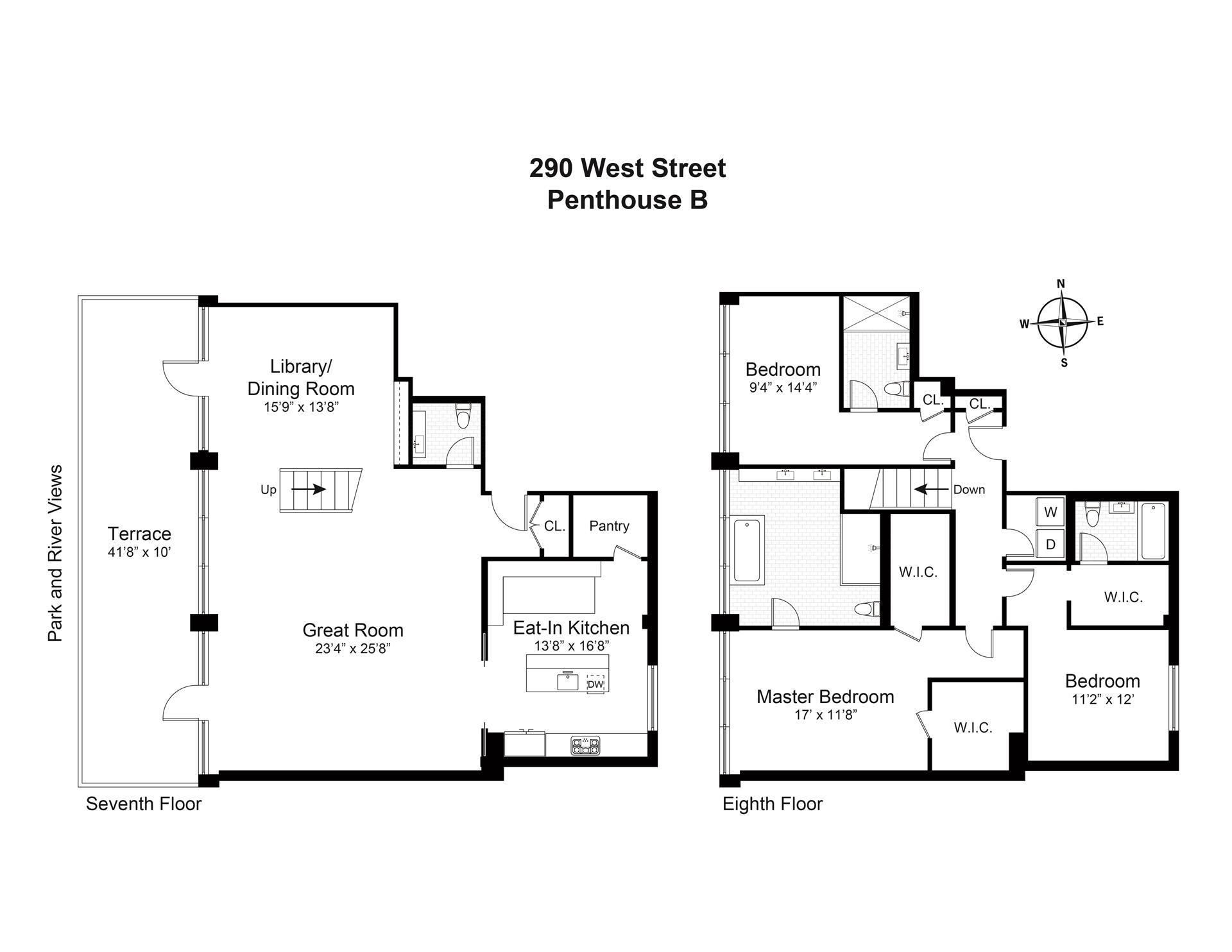 Floor plan of 290 West St, PHB - TriBeCa, New York