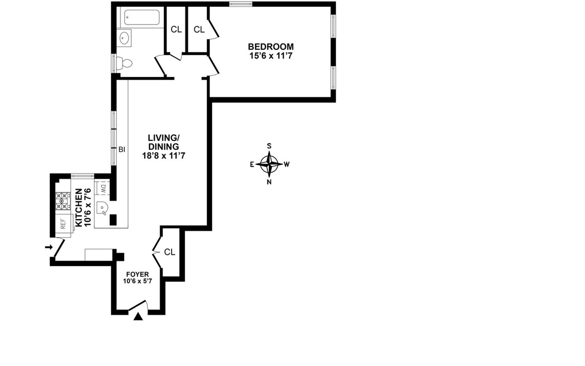 Floor plan of 130 East 94th St, 5C - Carnegie Hill, New York