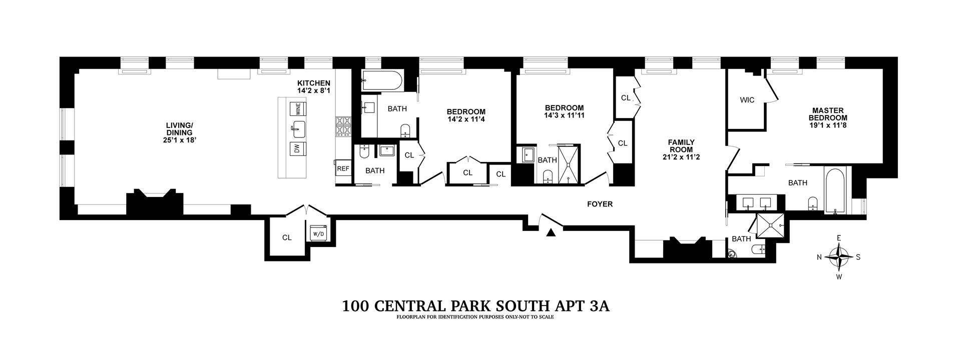 Floor plan of 100 Central Park South, 3A - Central Park South, New York