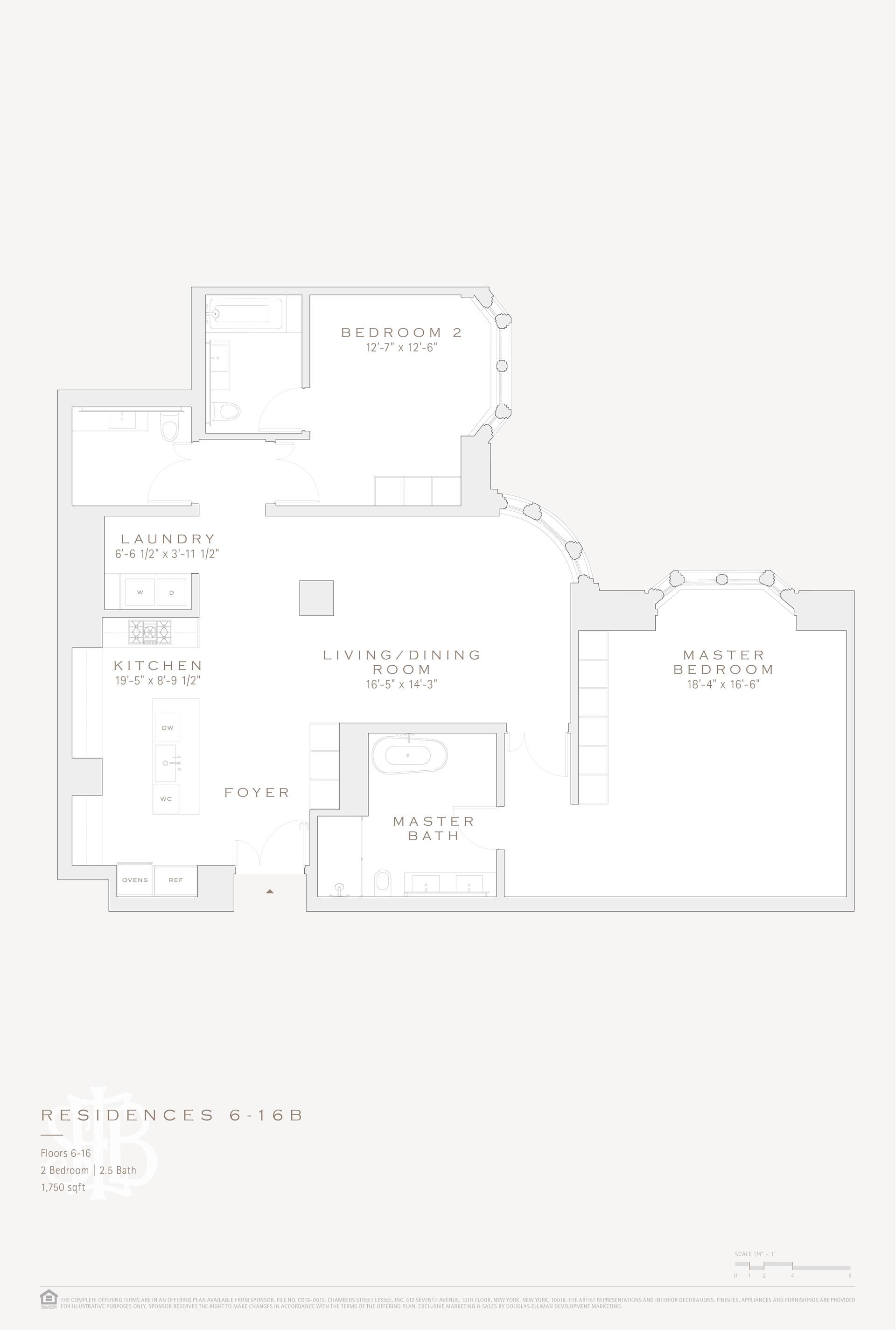 Floor plan of 49 Chambers St, 7B - TriBeCa, New York