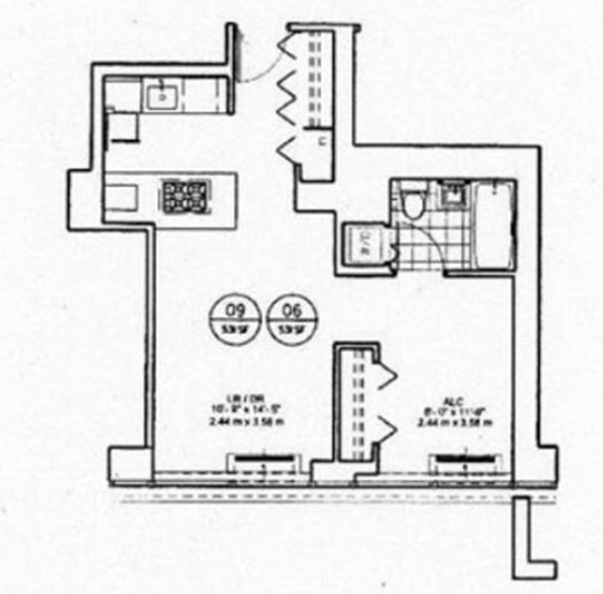 Floor plan of 450 West 17th St, 1606 - Chelsea, New York