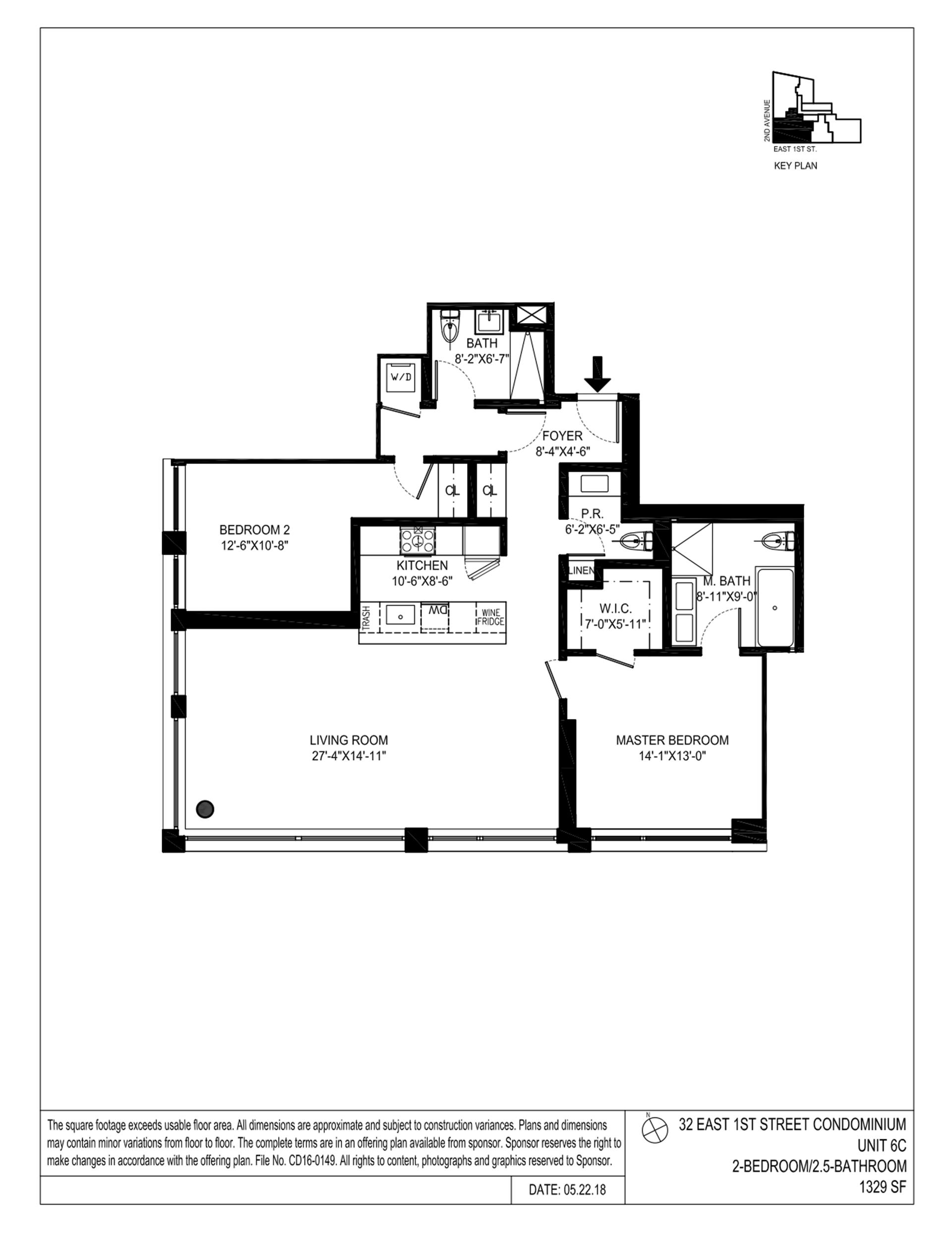 Floor plan of 32 East 1st St, 6C - East Village, New York