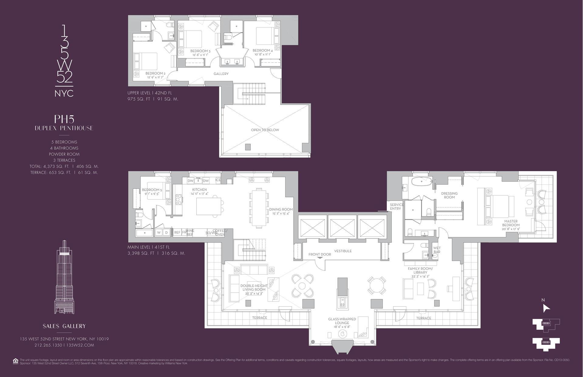 Floor plan of 135 West 52nd Street, PH5 - Midtown, New York