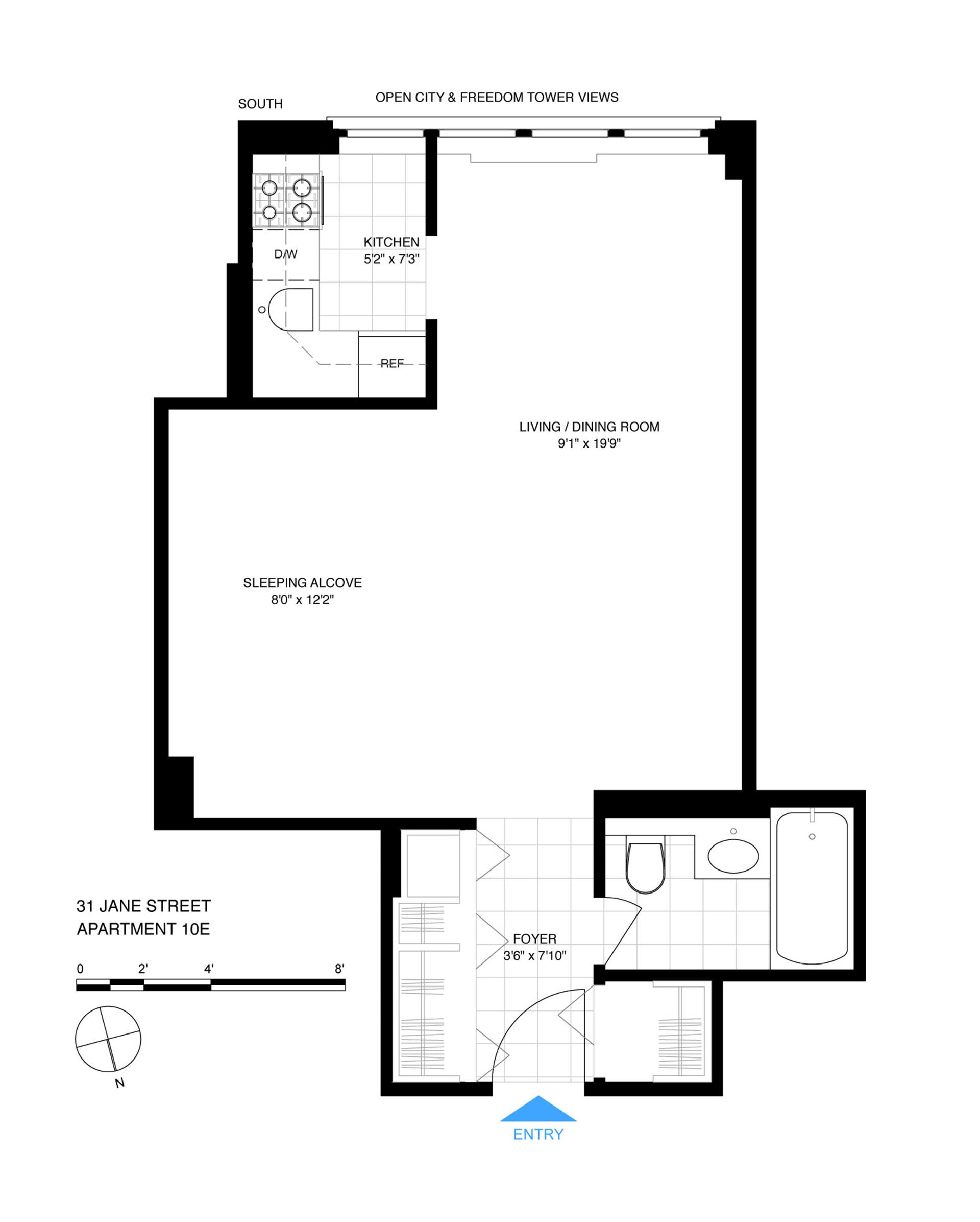 Floor plan of The Rembrandt, 31 Jane St, 10E - West Village - Meatpacking District, New York