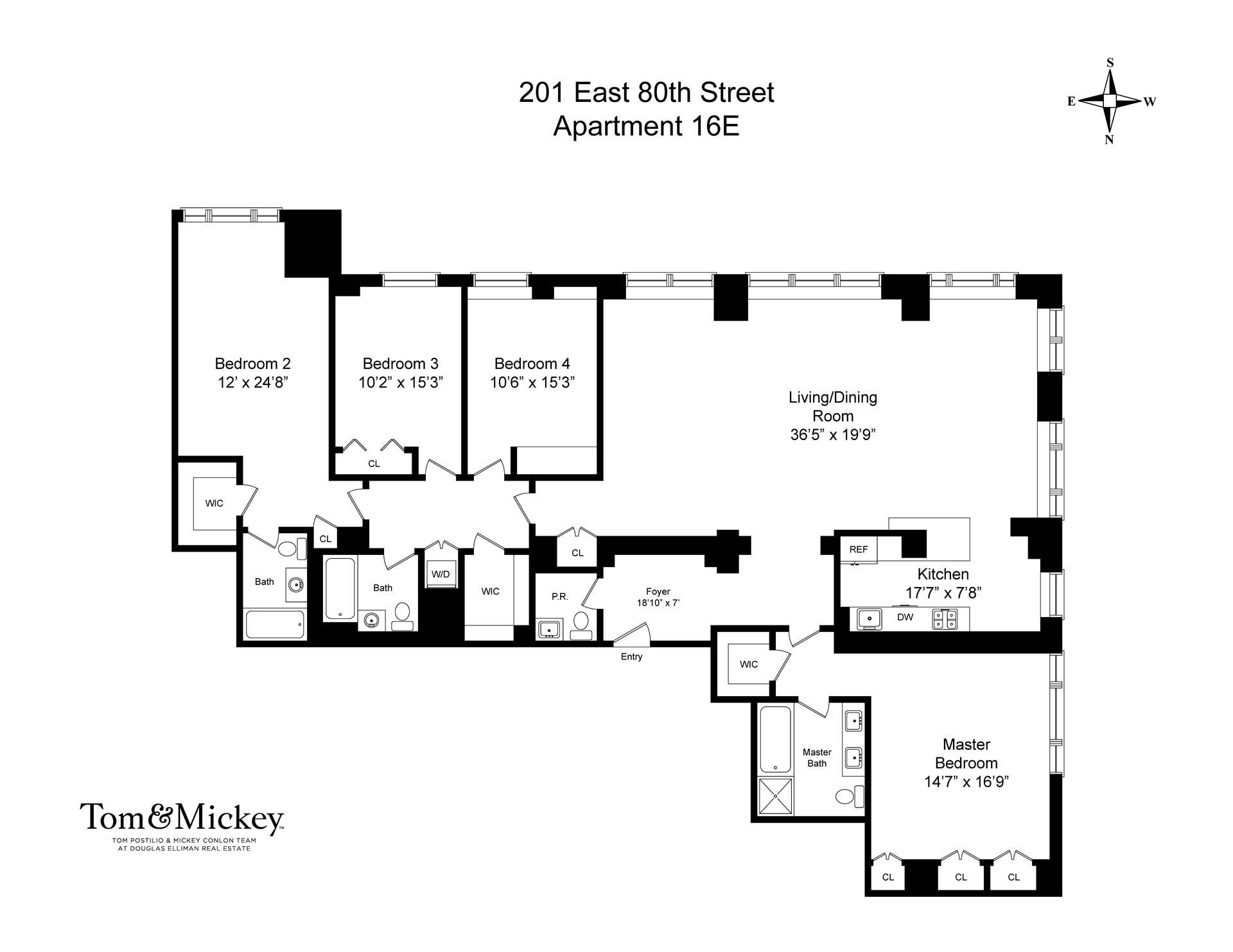 Floor plan of The Richmond, 201 East 80th St, 16E - Upper East Side, New York