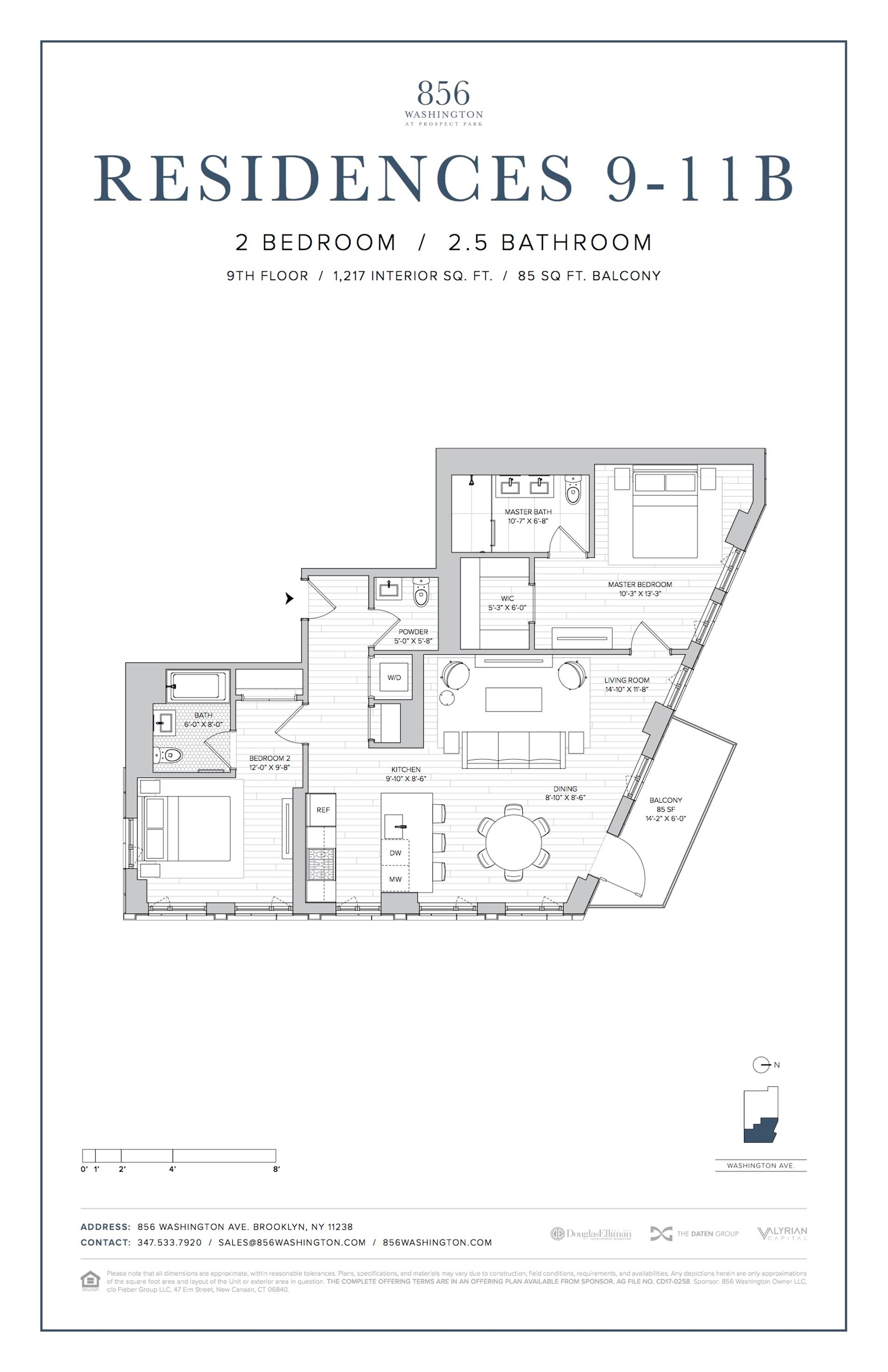 Floor plan of 856 Washington Avenue, 9B - Prospect Heights, New York