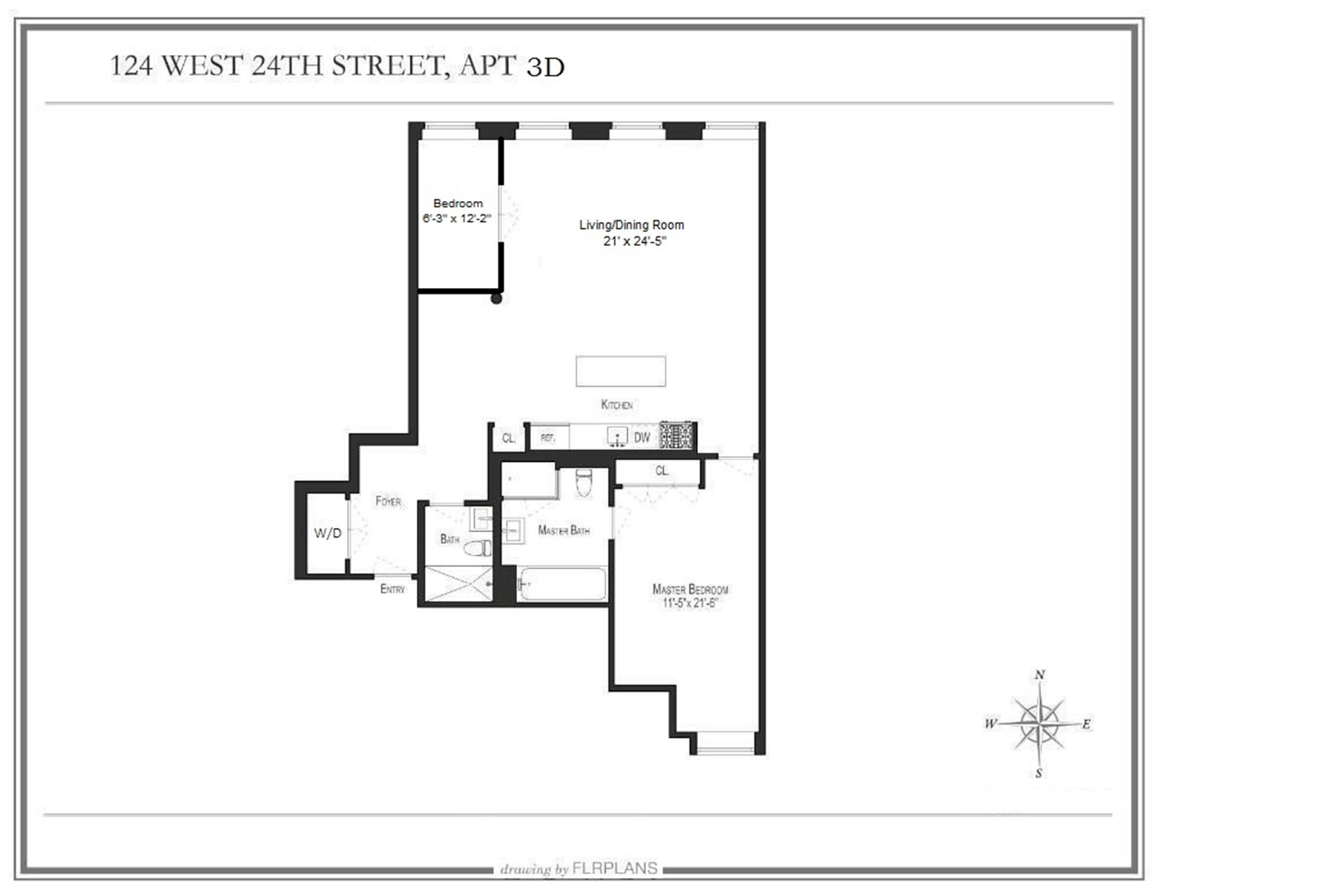 Floor plan of 124 West 24th St, 3D - Chelsea, New York