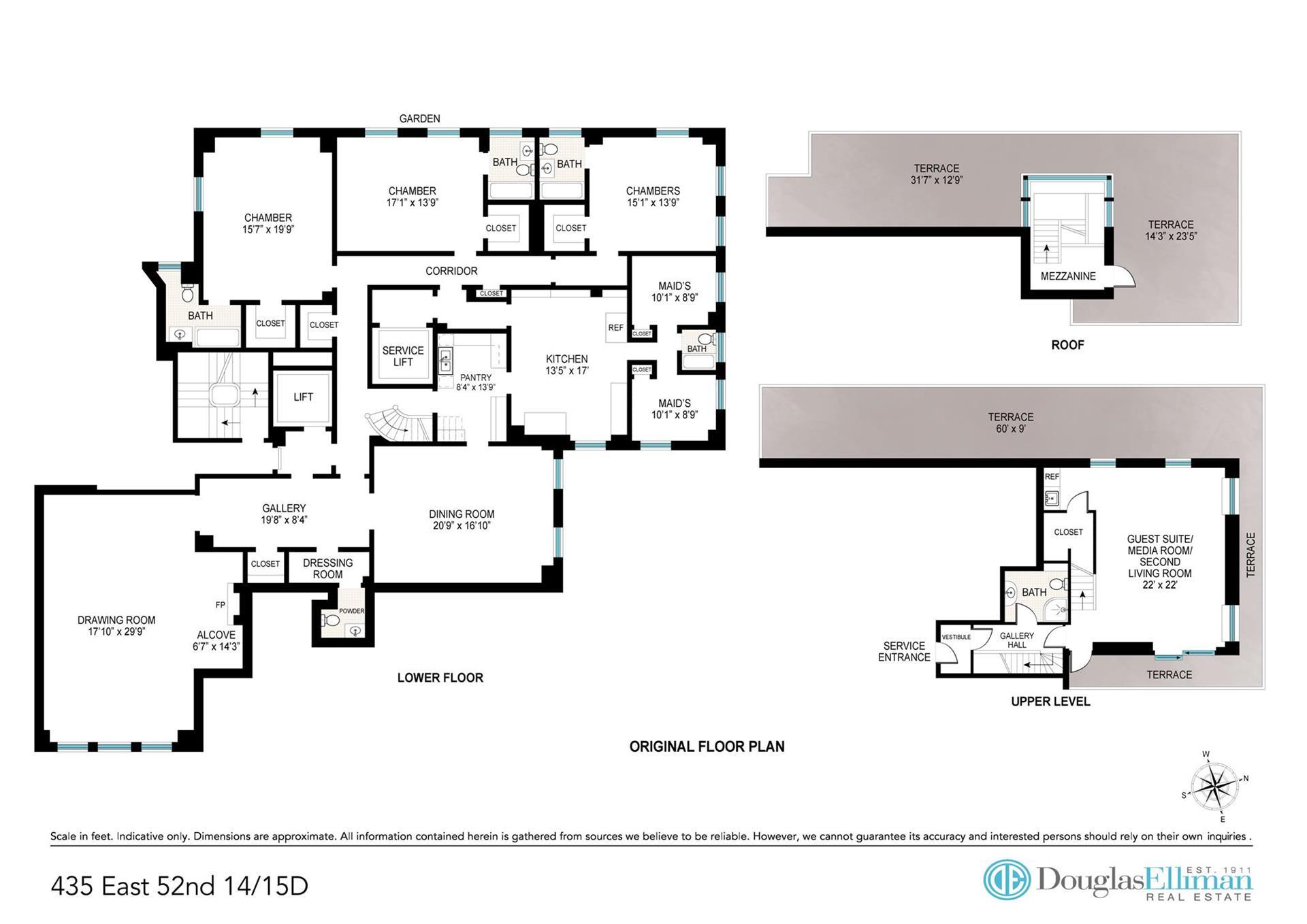 Floor plan of RIVER HOUSE, 435 East 52nd Street, 14/15D - Beekman, New York