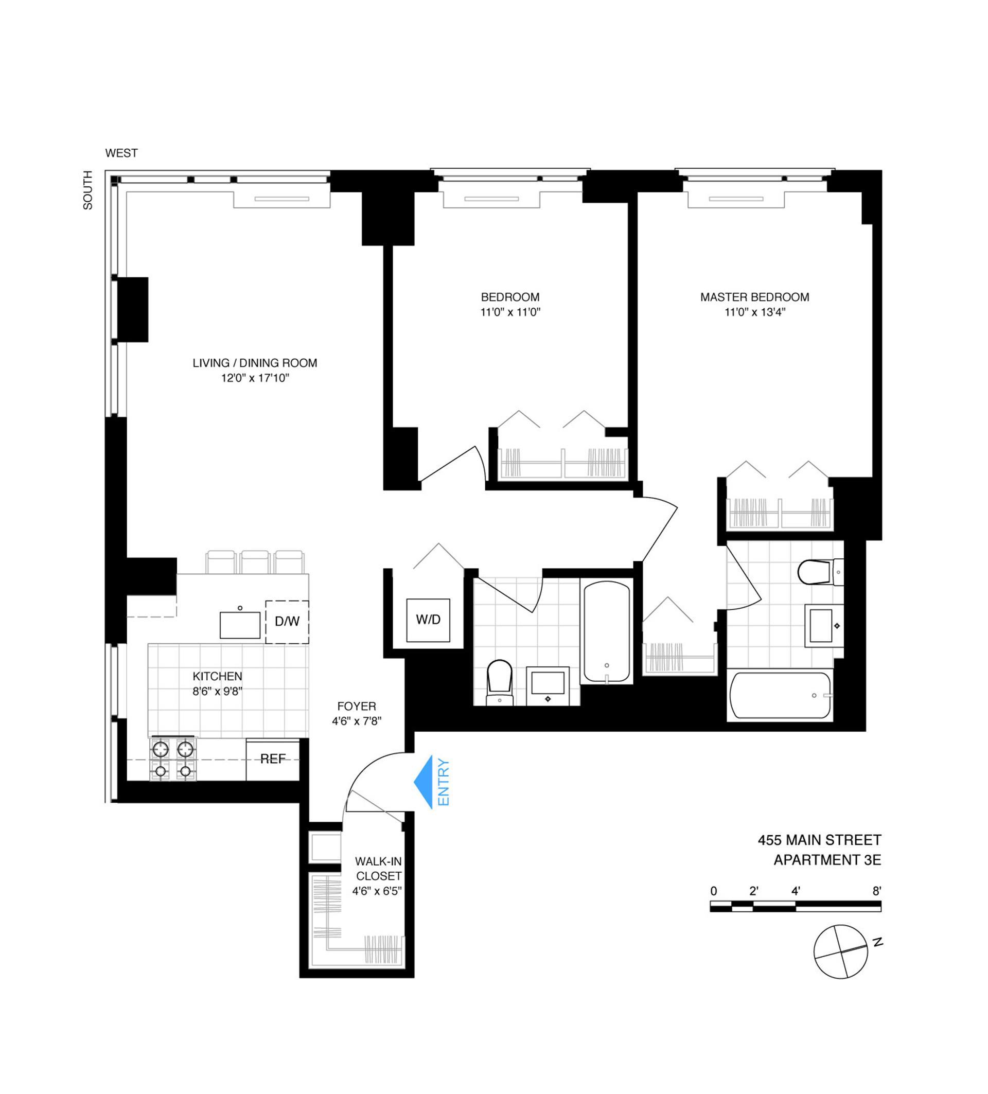 Floor plan of 455 Main St, 3E - Roosevelt Island, New York