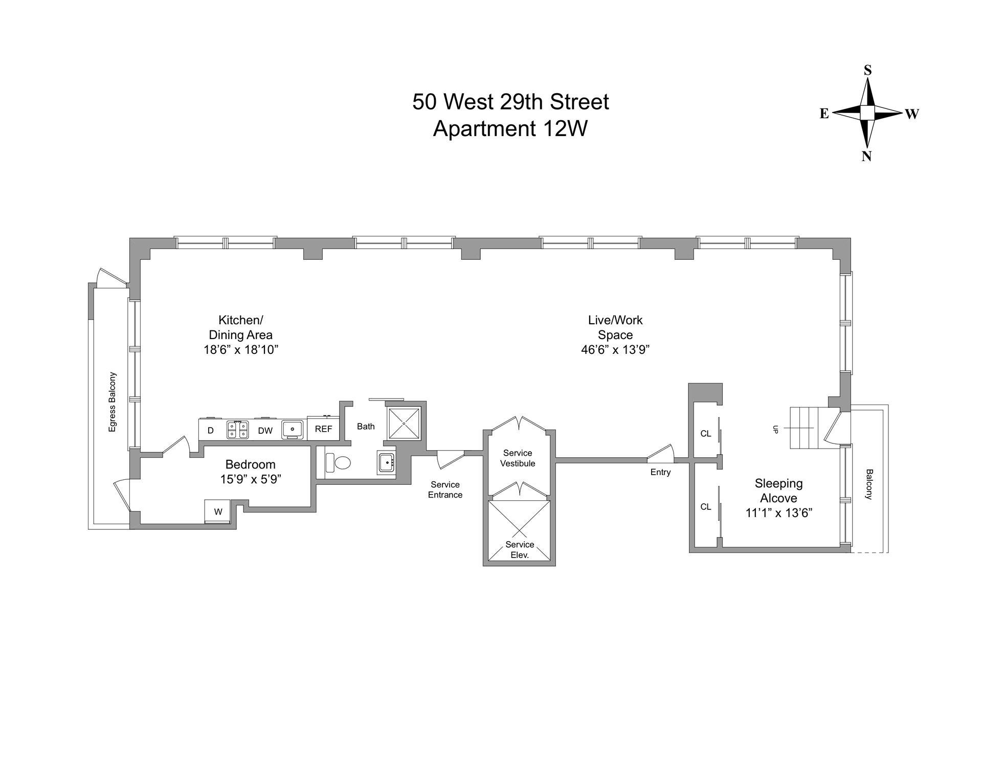 Floor plan of 50 West 29th St, 12W - Flatiron District, New York