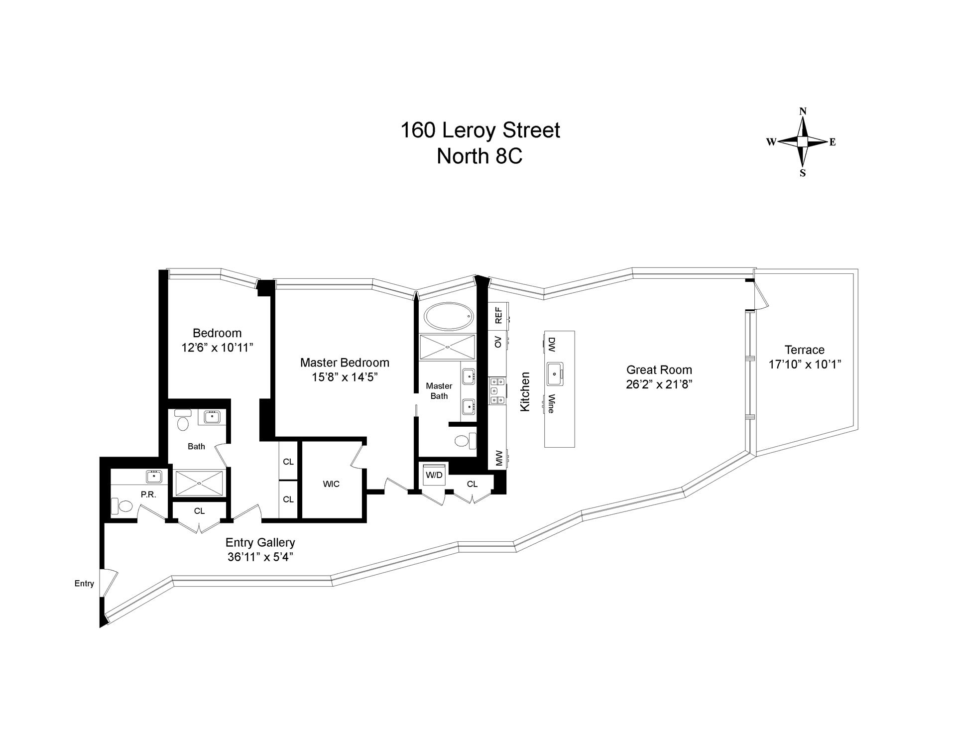 Floor plan of 160 Leroy St, NORTH8C - West Village - Meatpacking District, New York