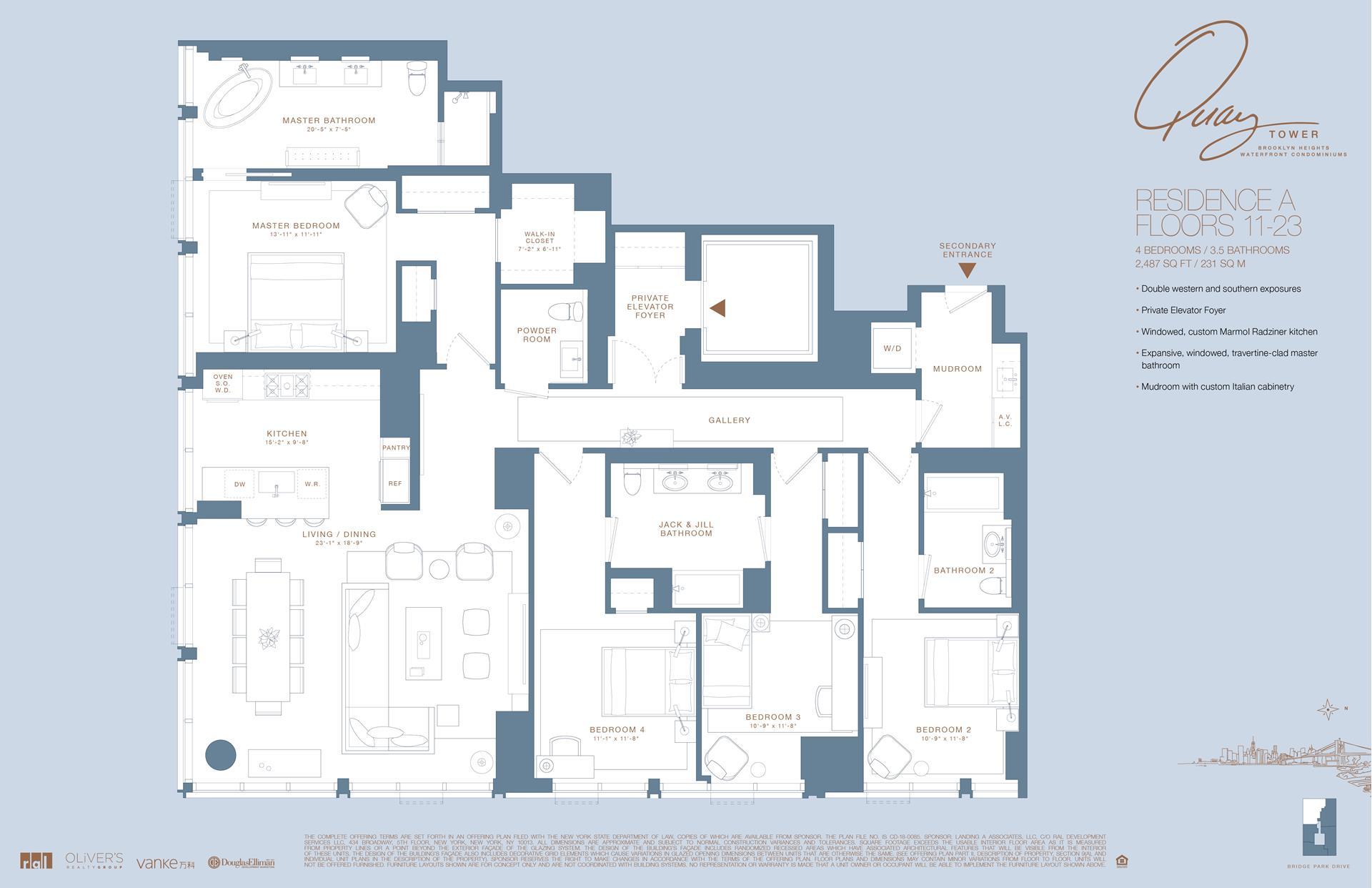Floor plan of 50 Bridge Park Drive, 11A - Brooklyn Heights, New York