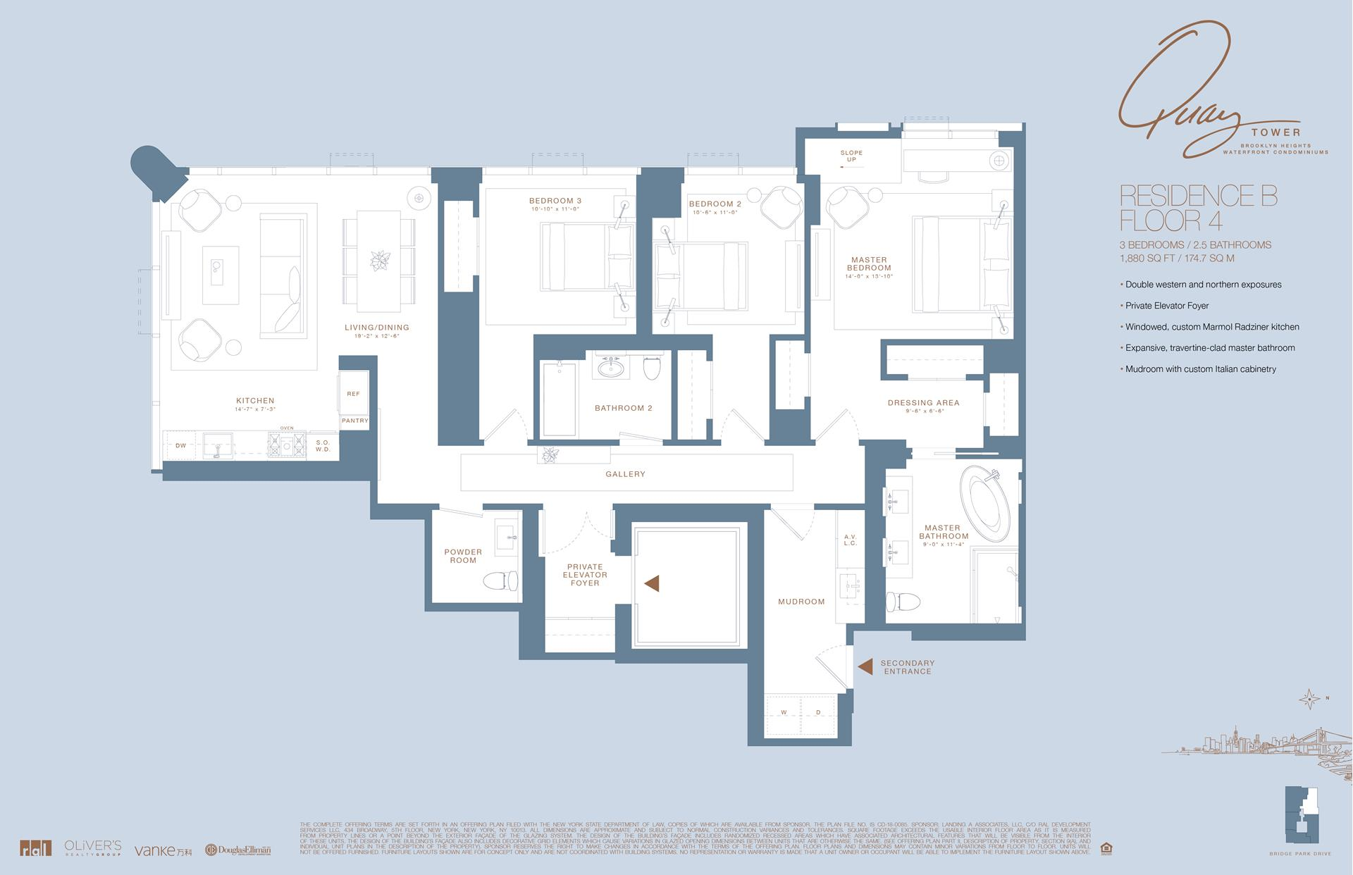 Floor plan of 50 Bridge Park Drive, 4B - Brooklyn Heights, New York