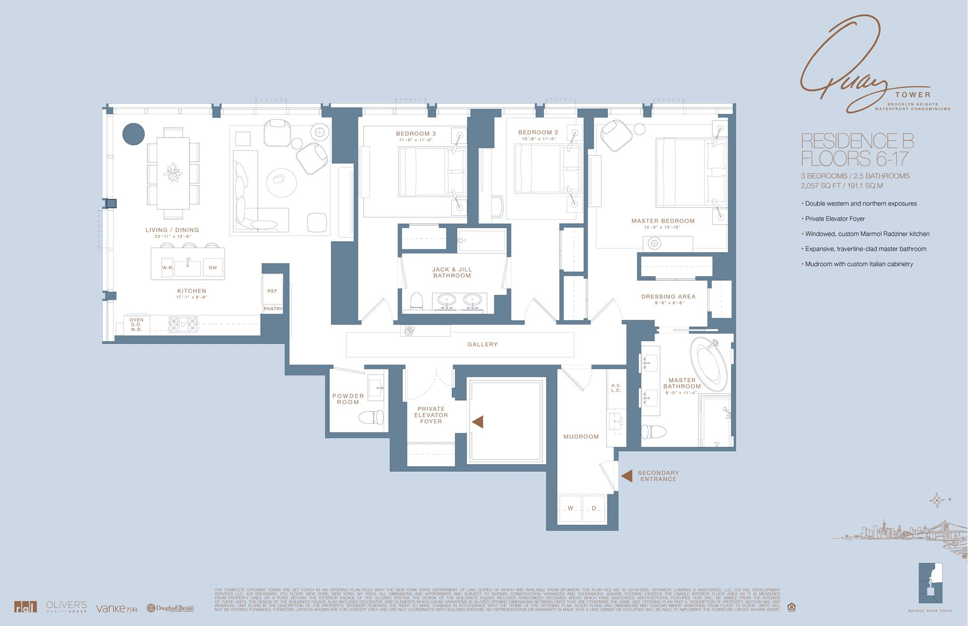 Floor plan of 50 Bridge Park Drive, 11B - Brooklyn Heights, New York