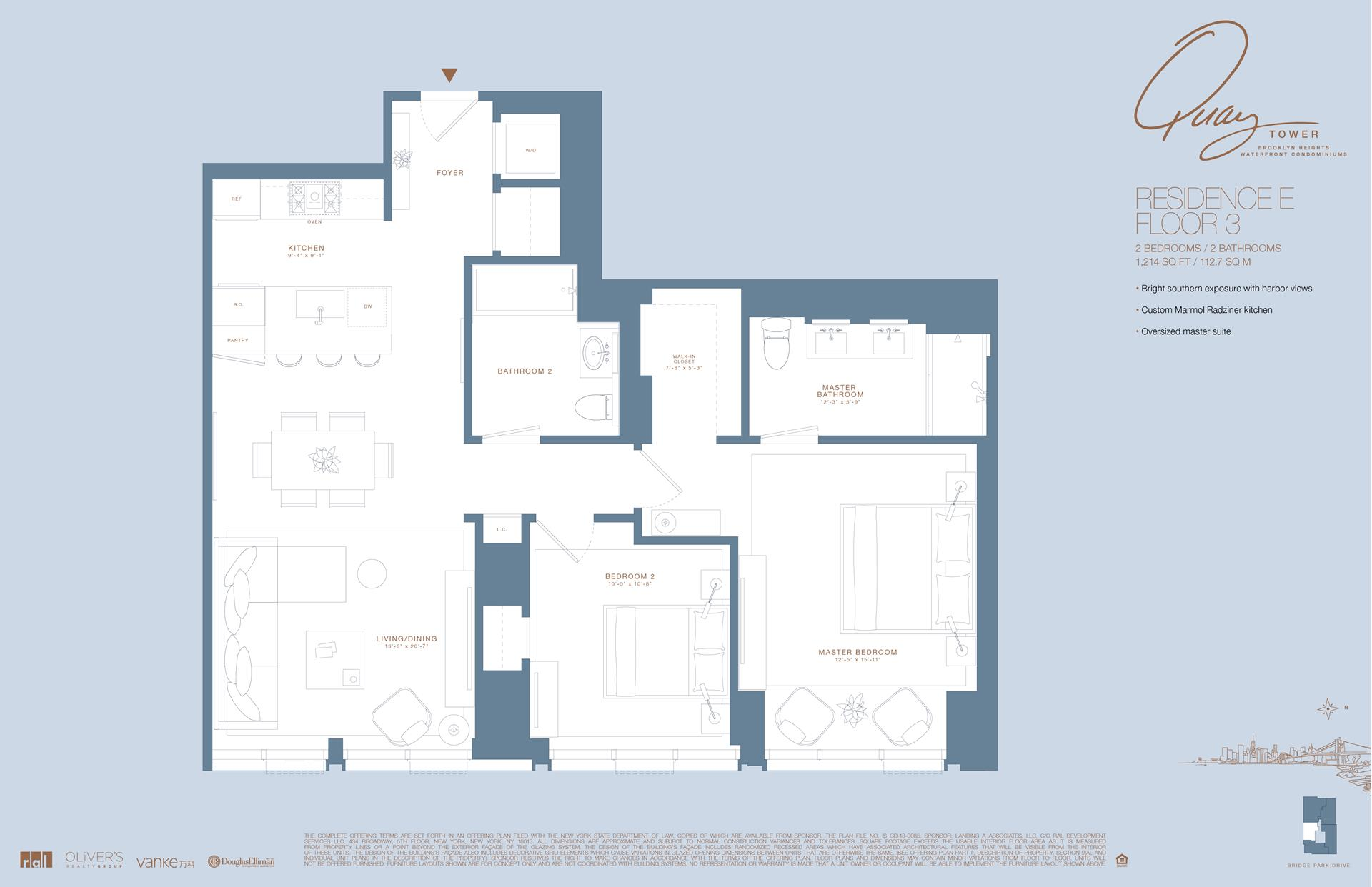 Floor plan of 50 Bridge Park Drive, 3E - Brooklyn Heights, New York