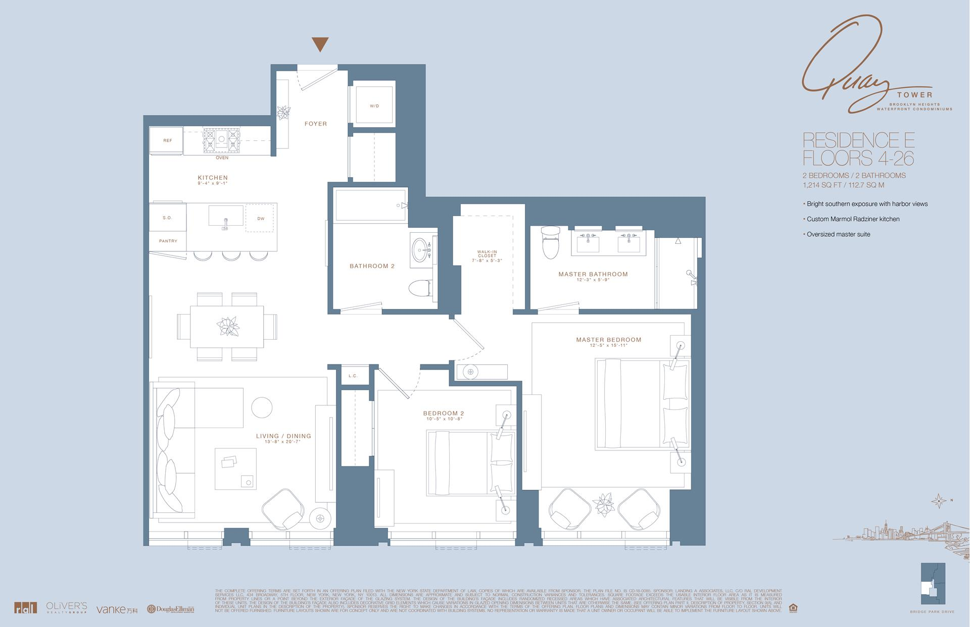 Floor plan of 50 Bridge Park Drive, 11E - Brooklyn Heights, New York