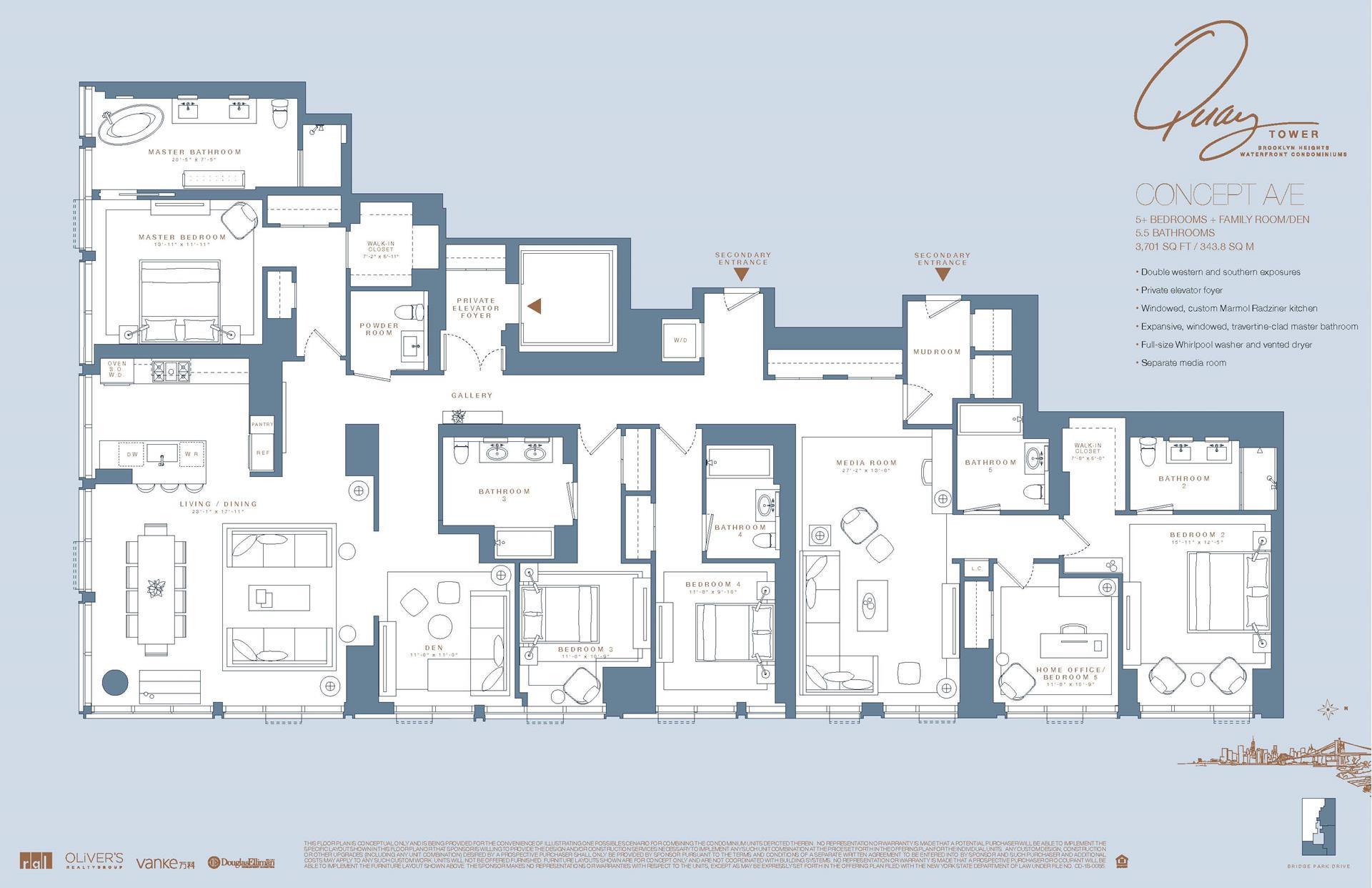 Floor plan of 50 Bridge Park Drive, 20AE - Brooklyn Heights, New York