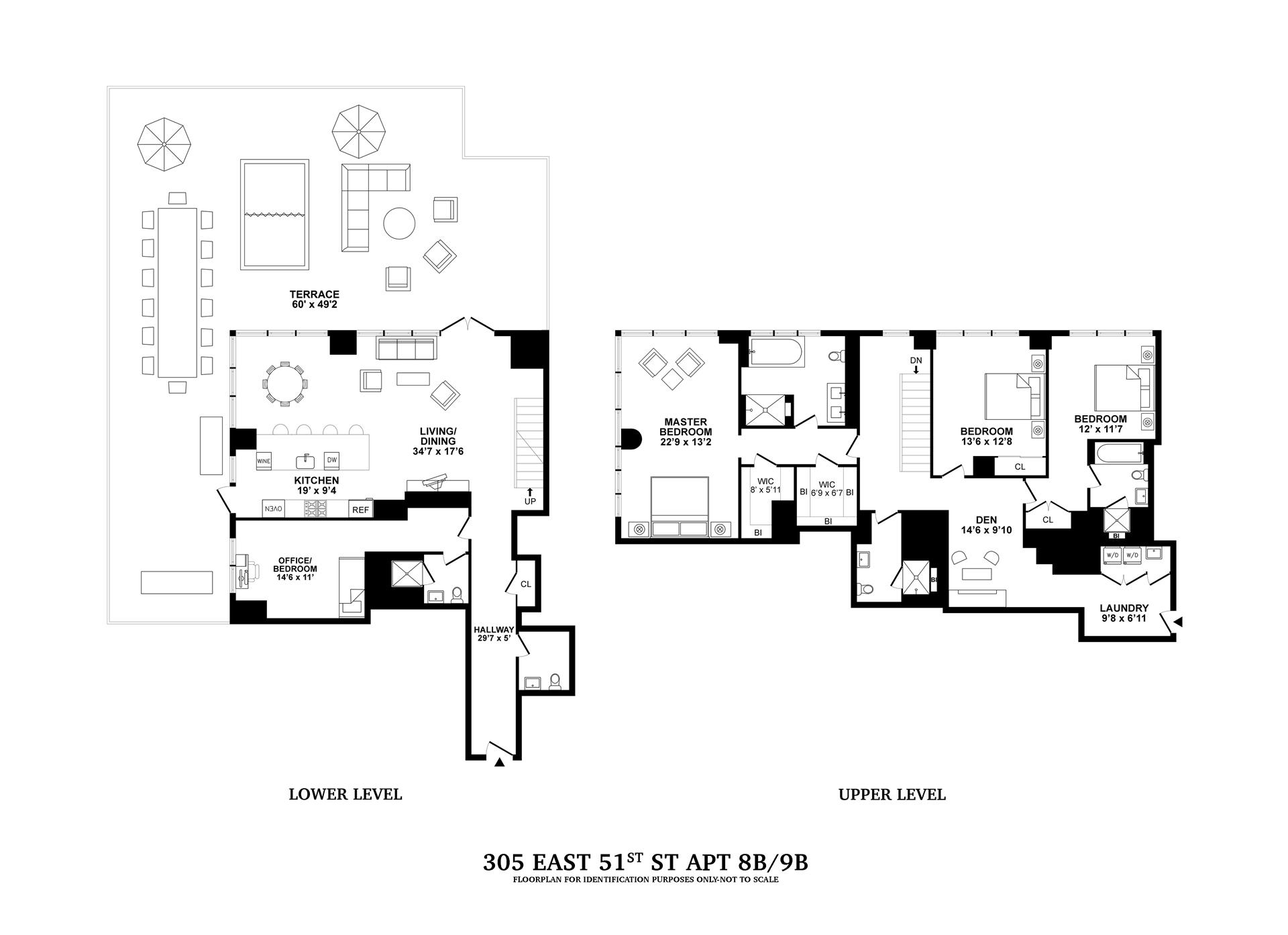 Floor plan of Halcyon, 305 East 51st St, 8B/9B - Turtle Bay, New York