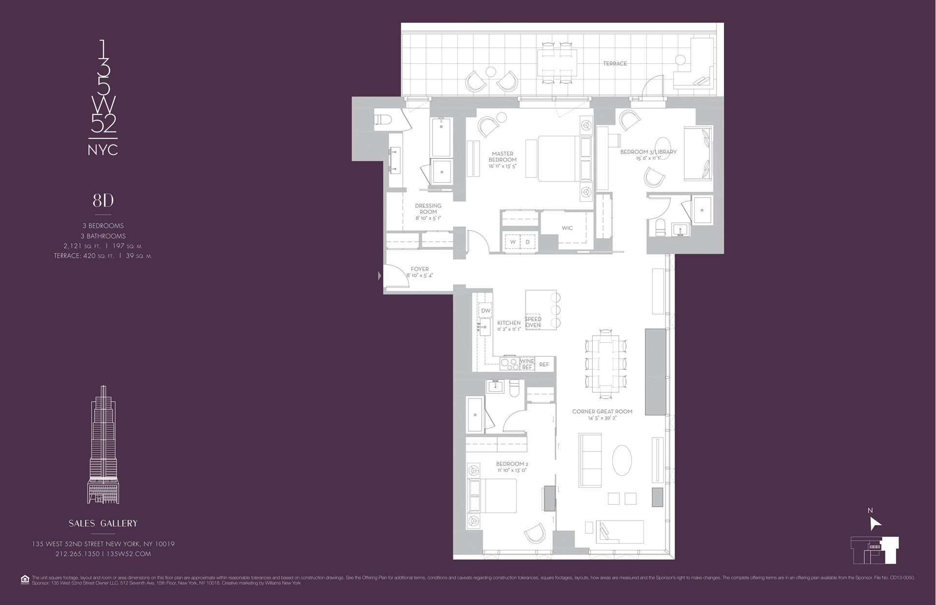 Floor plan of 135 West 52nd Street, 8D - Midtown, New York