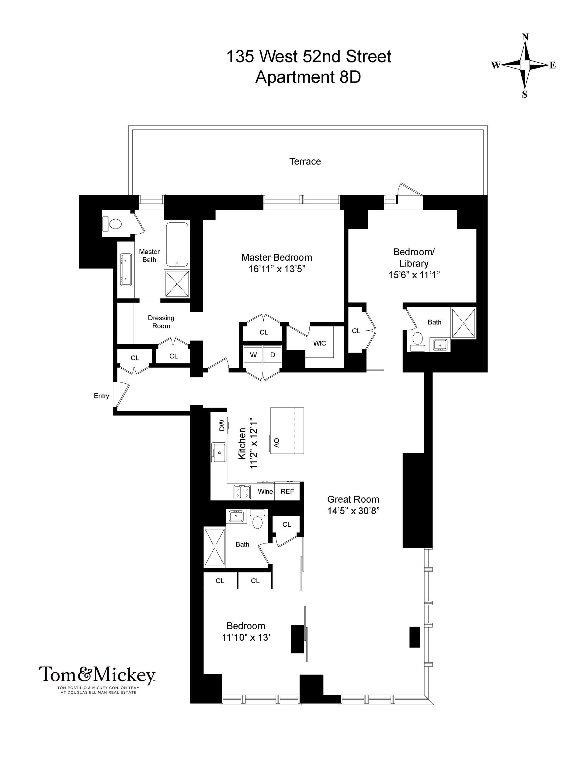 Floor plan of 135 West 52nd St, 8D - Midtown, New York