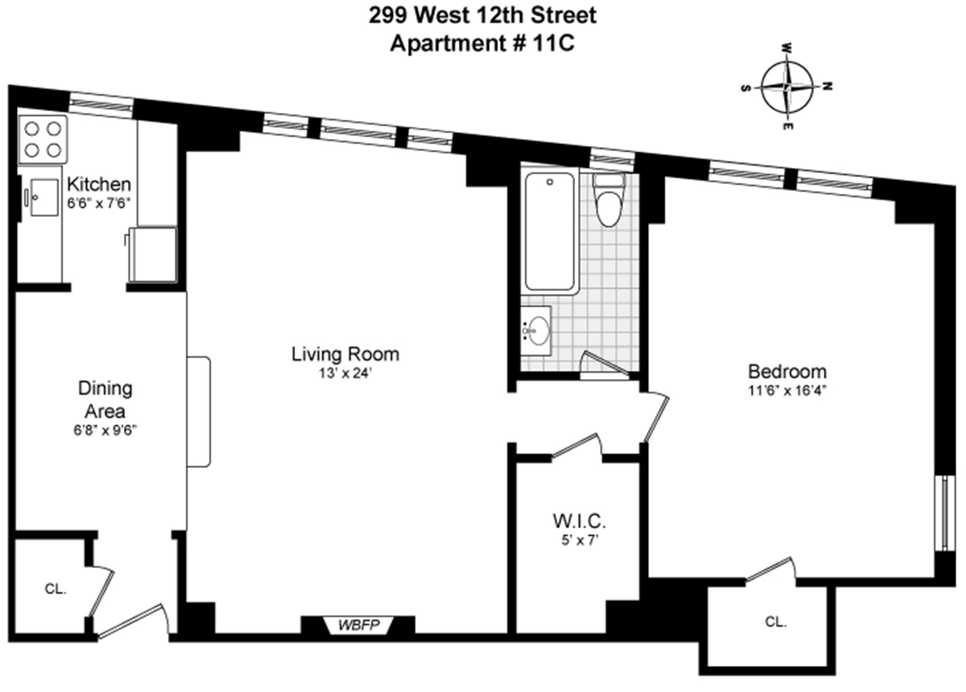 Floor plan of 299 W. 12 CORP., 299 West 12th St, 11C - West Village - Meatpacking District, New York