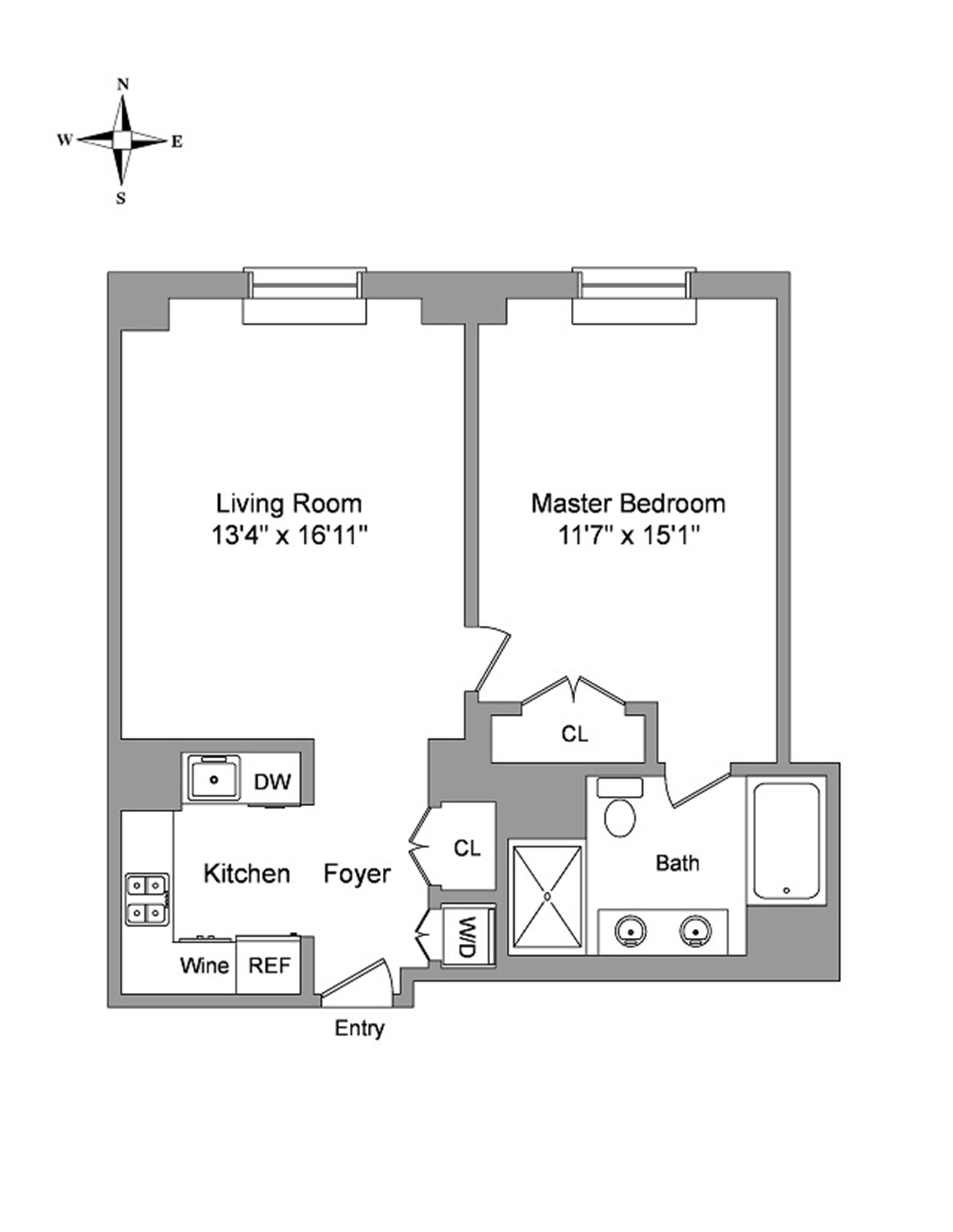 Floor plan of 100 West 58th St, 3E - Midtown, New York