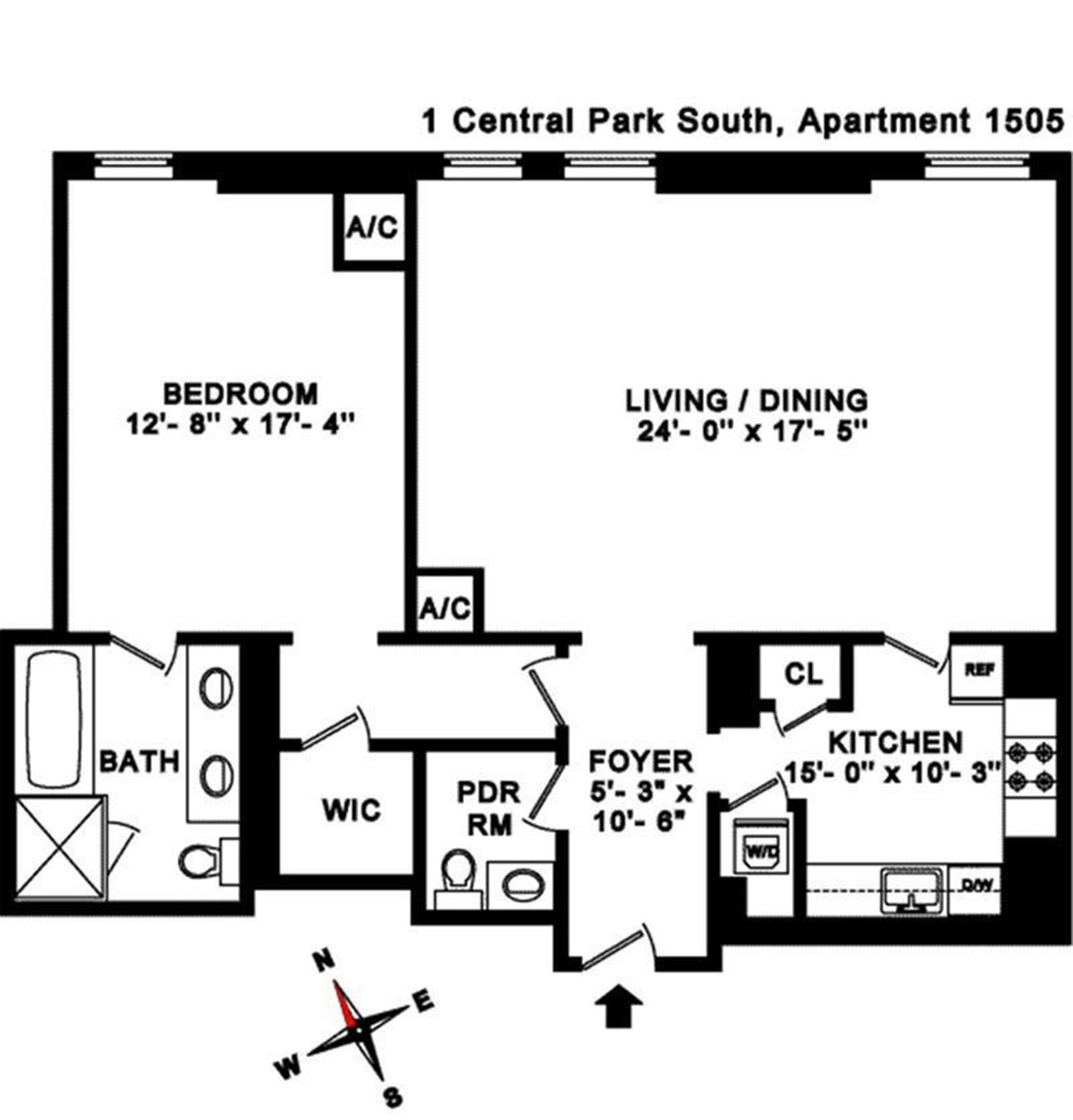 Floor plan of The Plaza Residences, 1 Central Park South, 1505 - Central Park South, New York