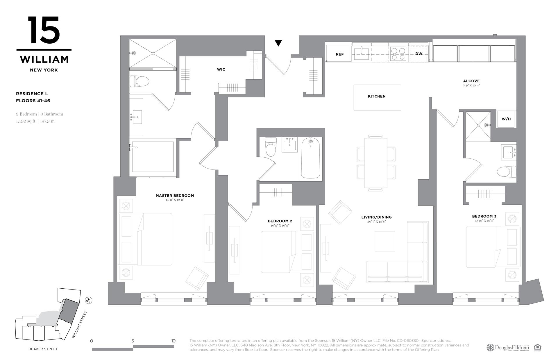 Floor plan of 15 William, 15 William St, 46L - Financial District, New York