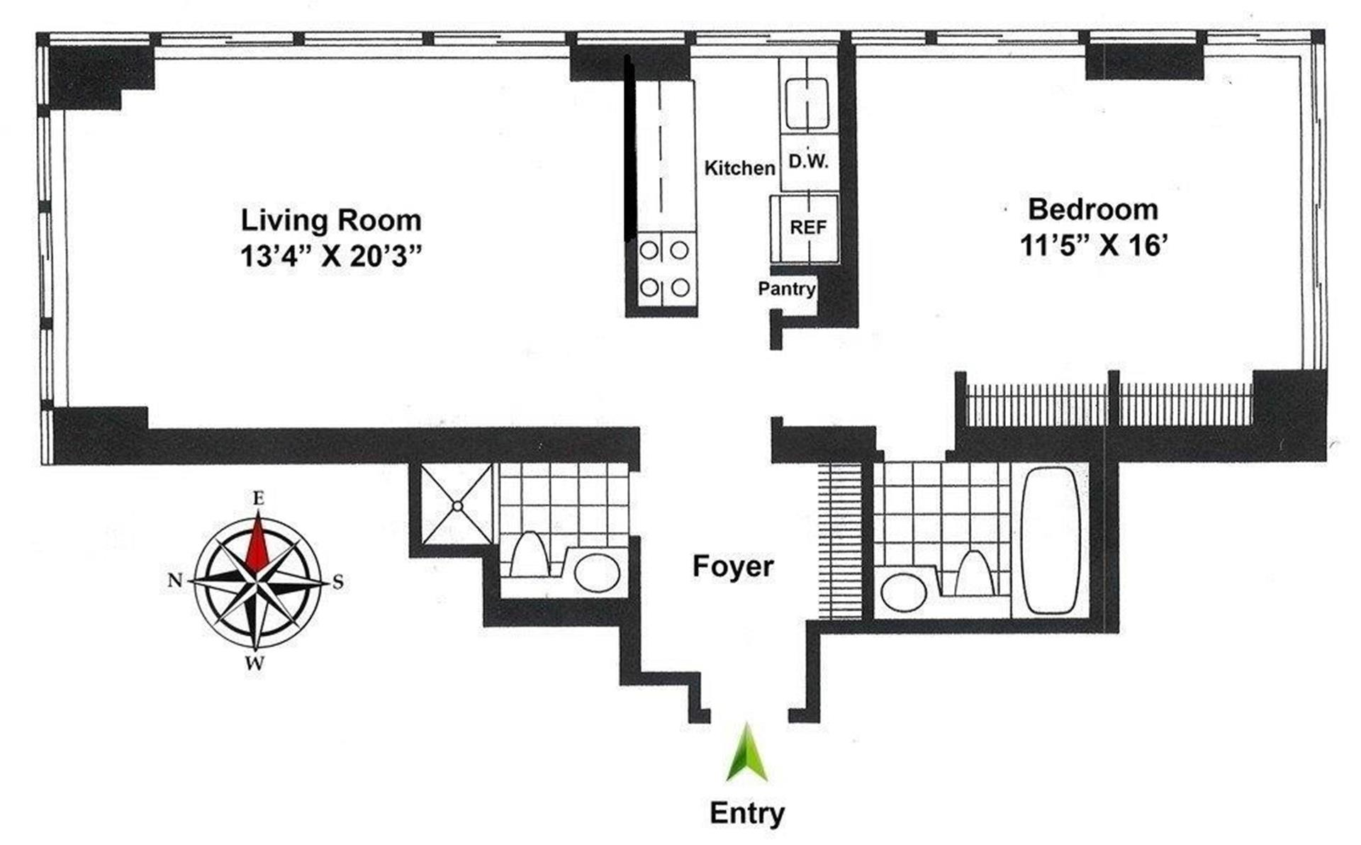 Floor plan of 300 East 93rd St, 28E - Upper East Side, New York