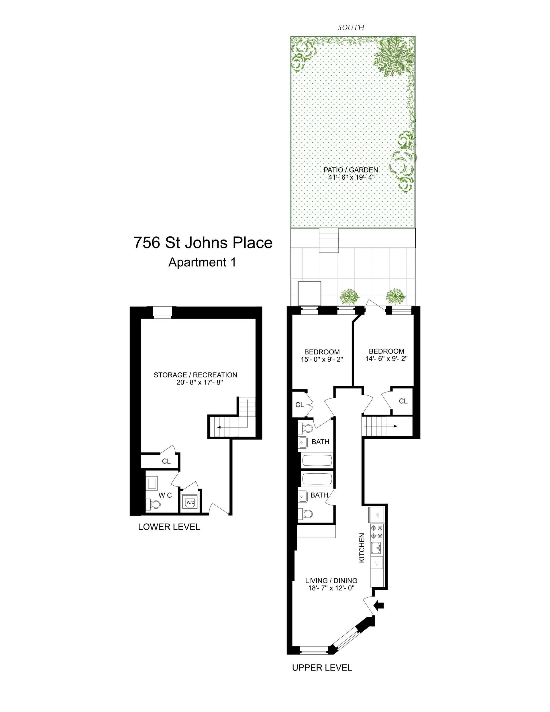 Floor plan of 756 St Johns Pl, 1 - Crown Heights, New York
