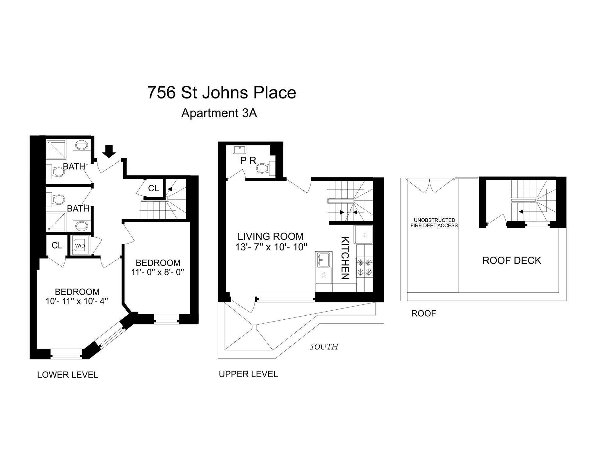 Floor plan of 756 St Johns Pl, 3A - Crown Heights, New York