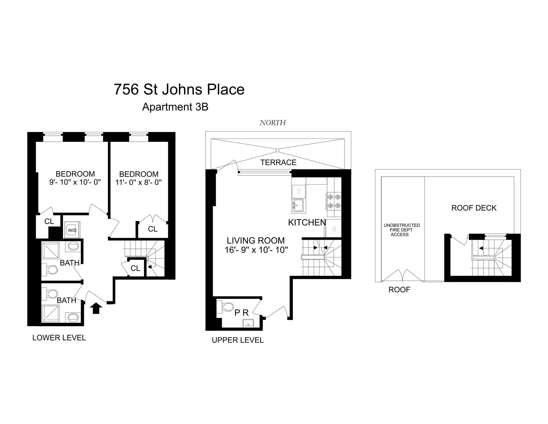 Floor plan of 756 St Johns Pl, 3B - Crown Heights, New York