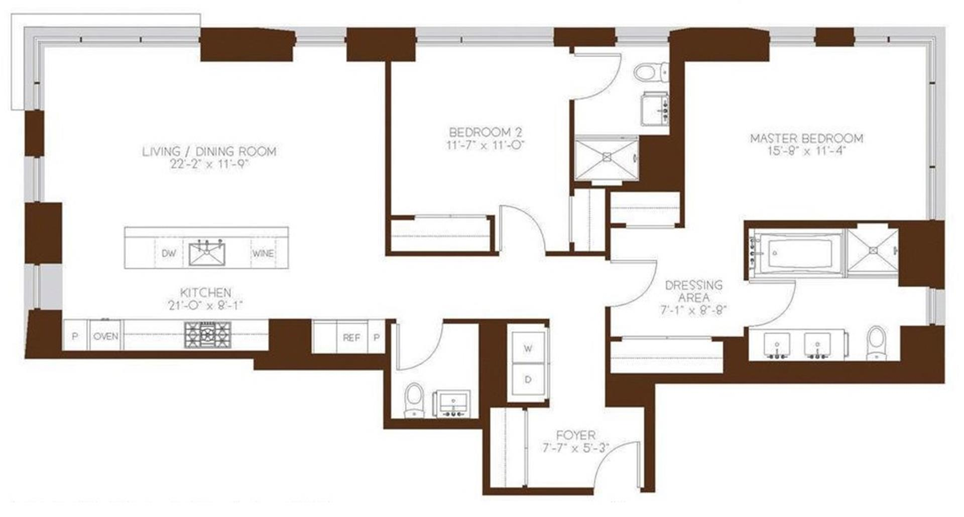 Floor plan of 301 East 50th St, 9C - Turtle Bay, New York