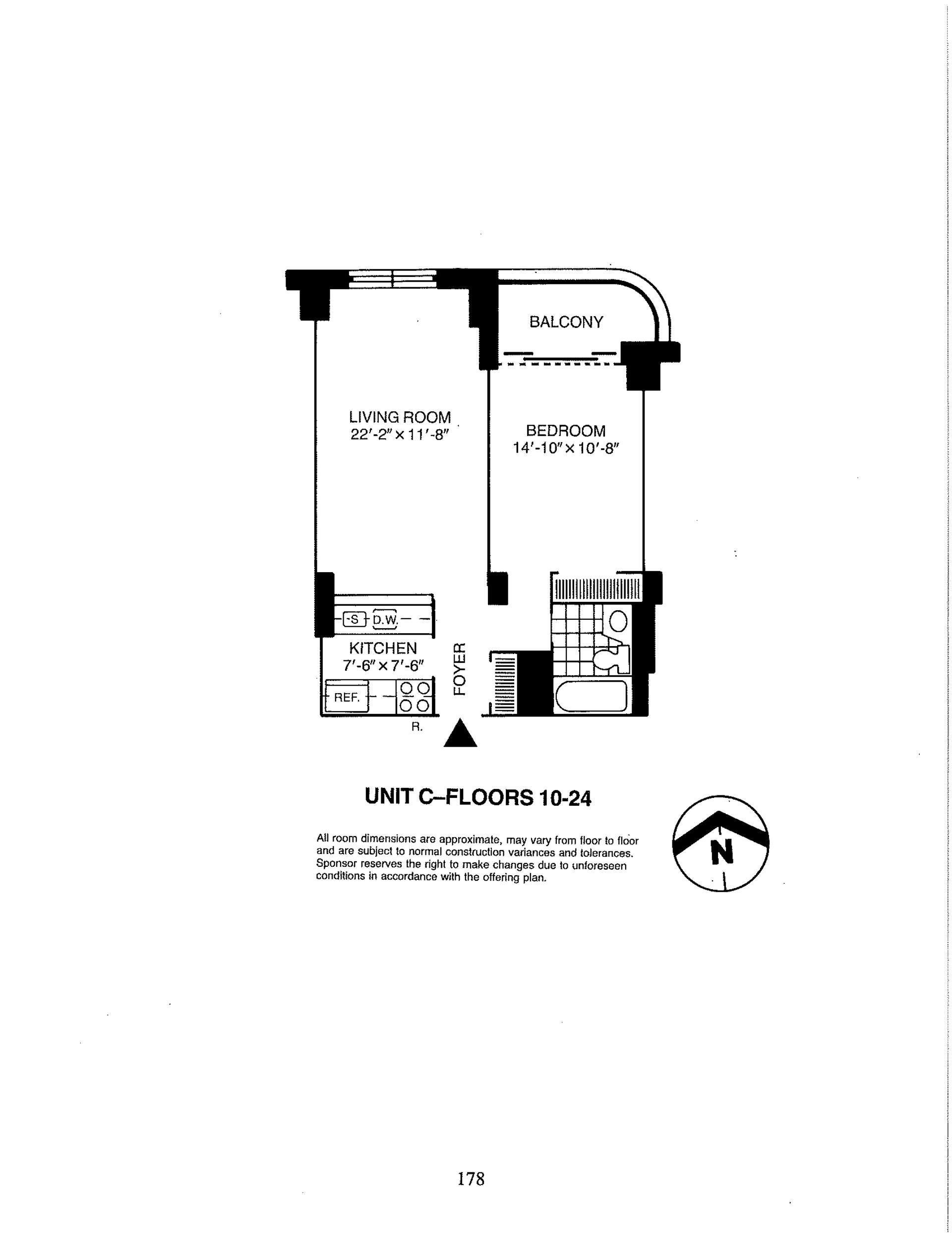 Floor plan of Liberty Residences, 380 Rector Pl, 23C - Battery Park City, New York