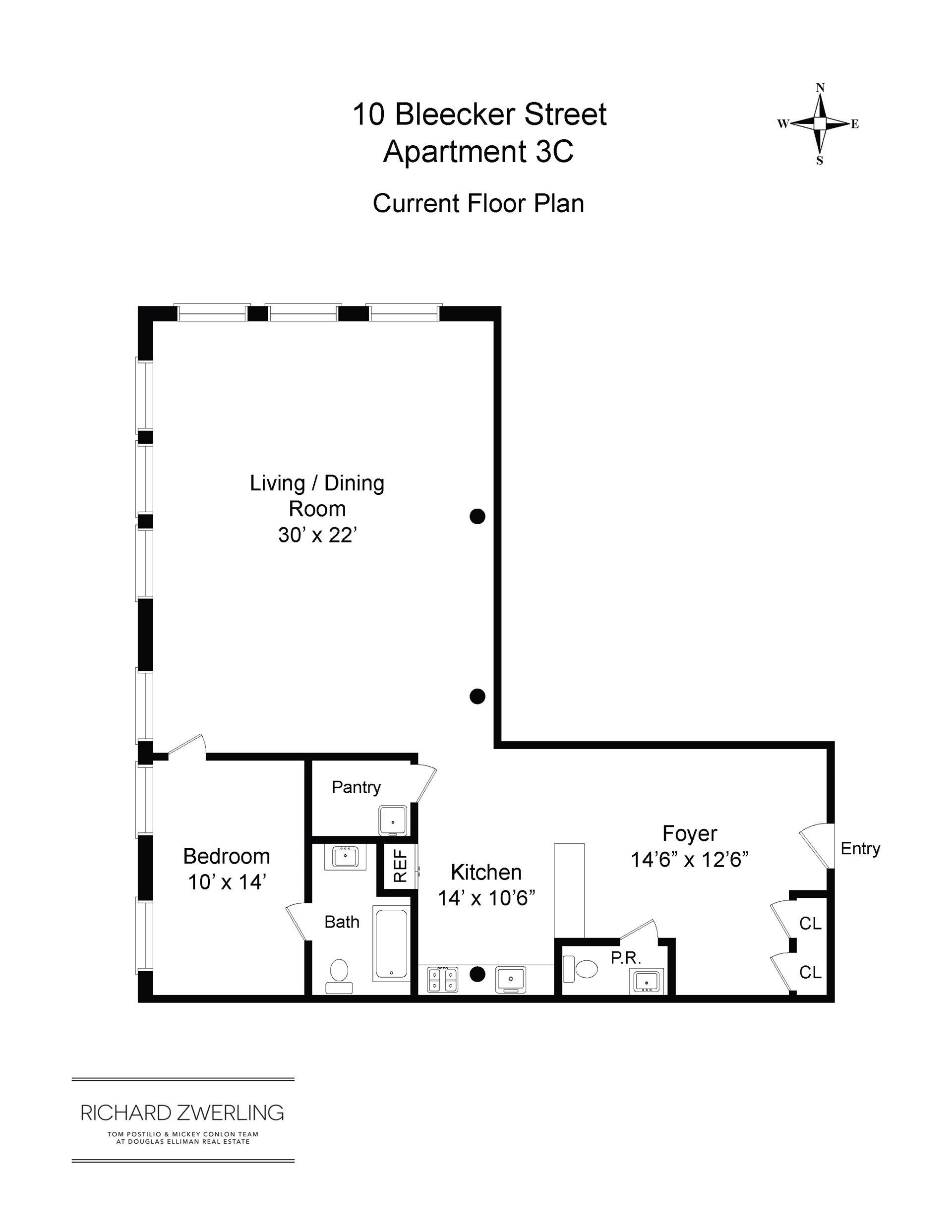 Floor plan of 10 Bleecker St, 3C - NoHo, New York