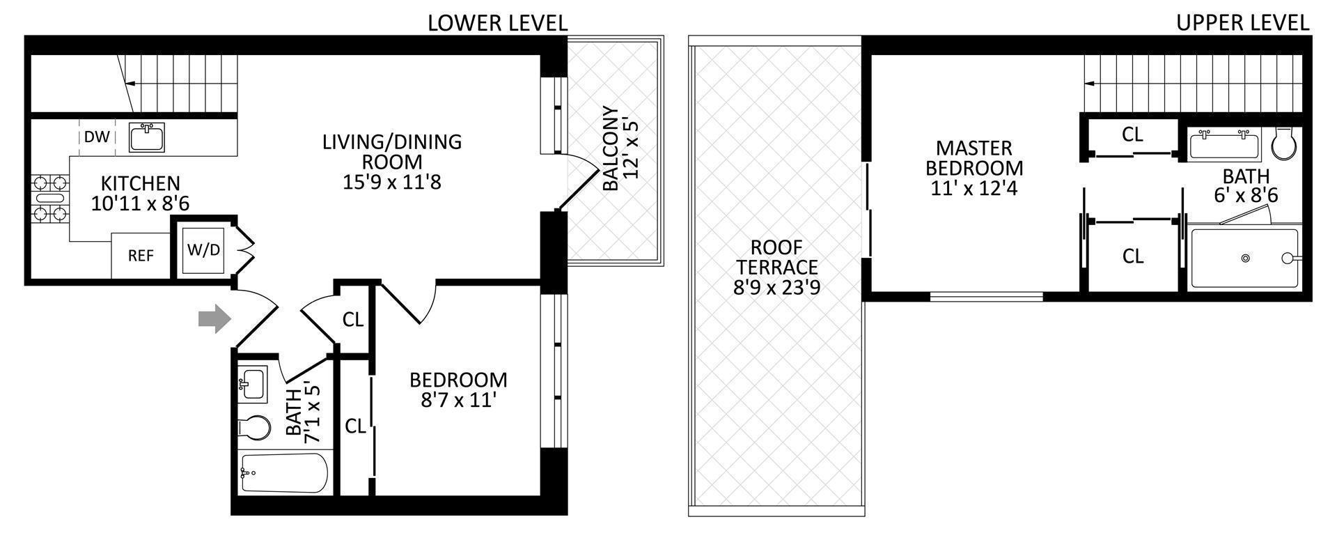 Floor plan of 27 Dodworth St, 4F - Bushwick, New York
