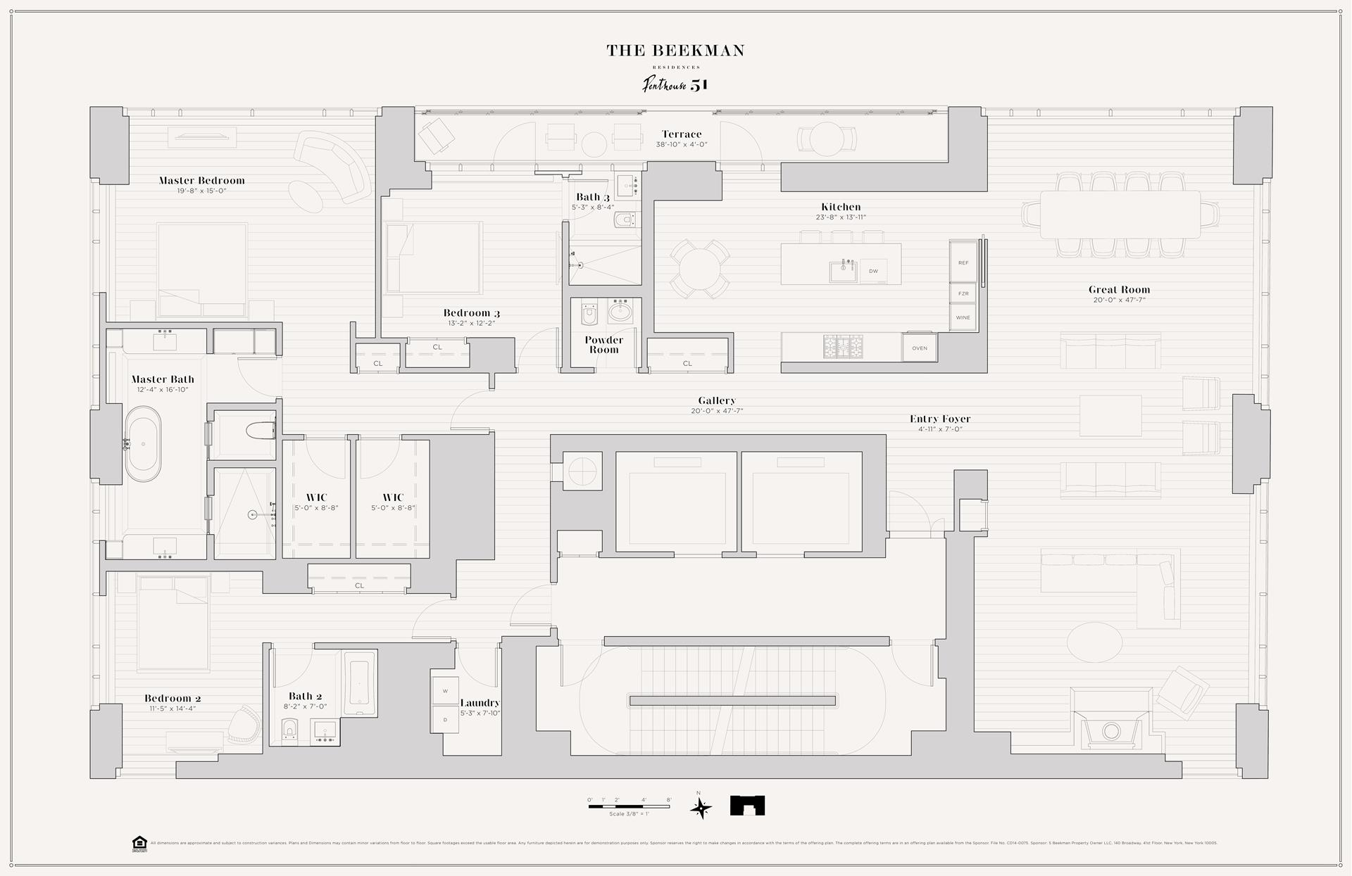 Floor plan of The Beekman Residences, 5 Beekman St, PH51 - Financial District, New York