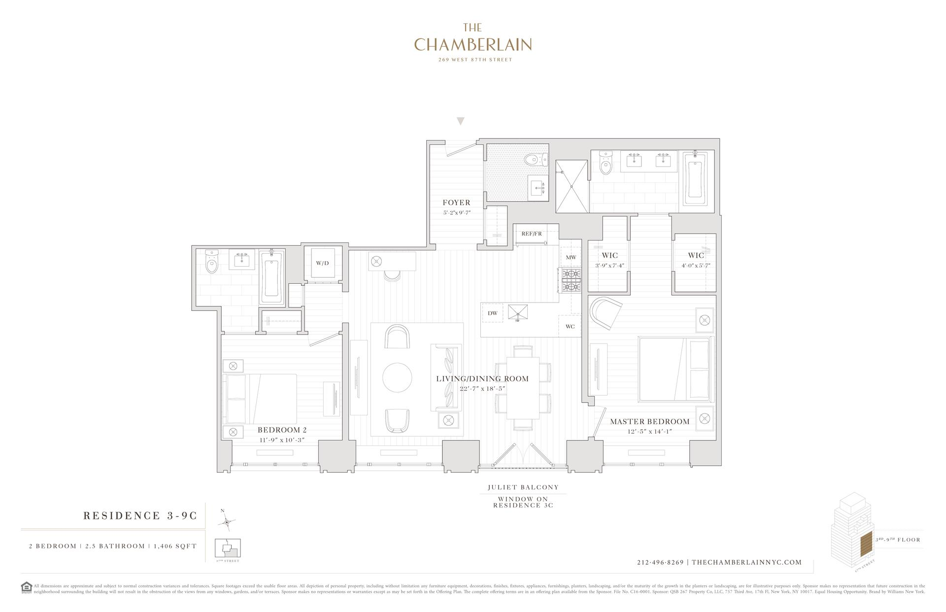 Floor plan of 269 West 87th St, 9C - Upper West Side, New York
