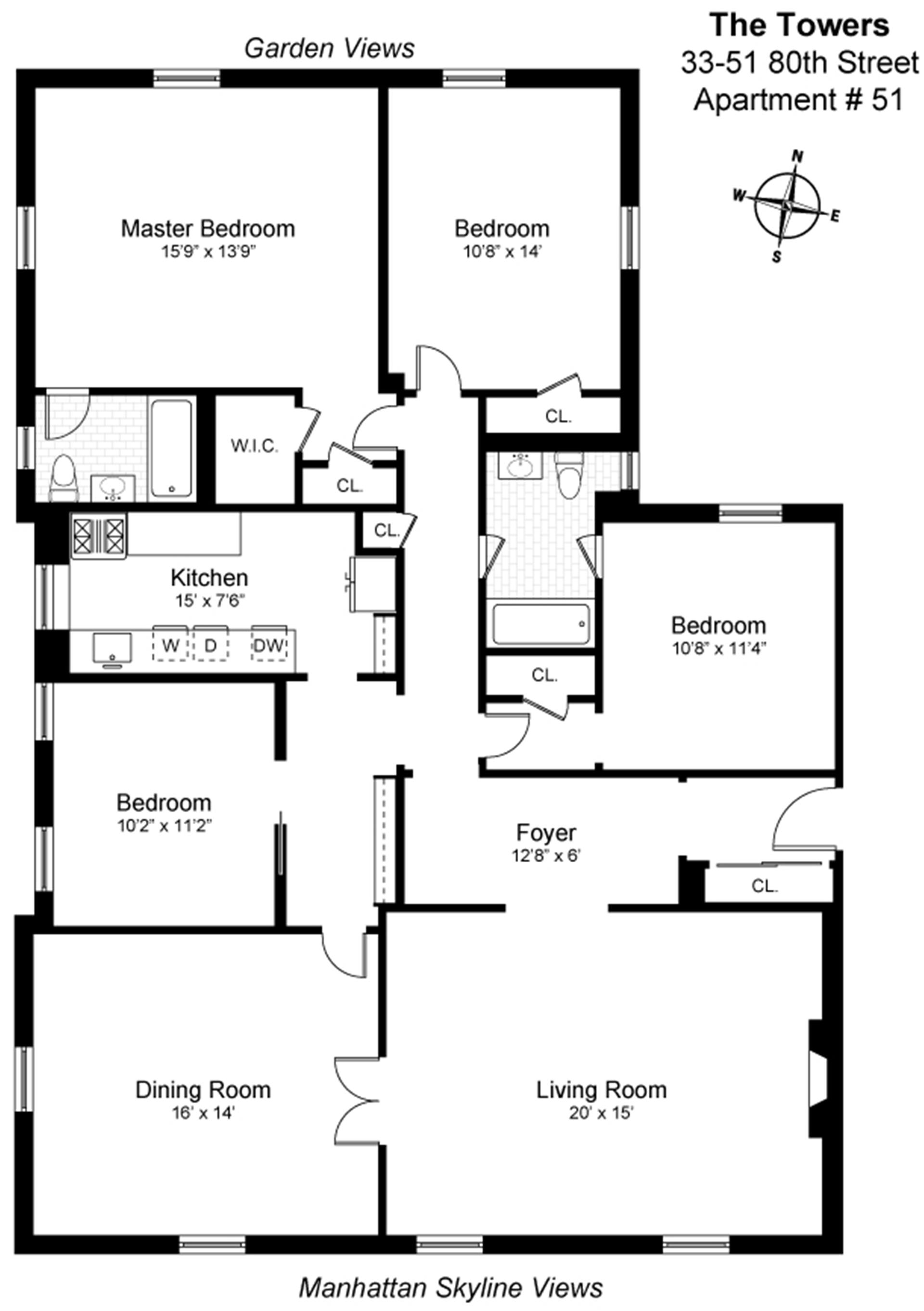 Floor plan of 33-51 80th St, 51 - Jackson Heights, New York