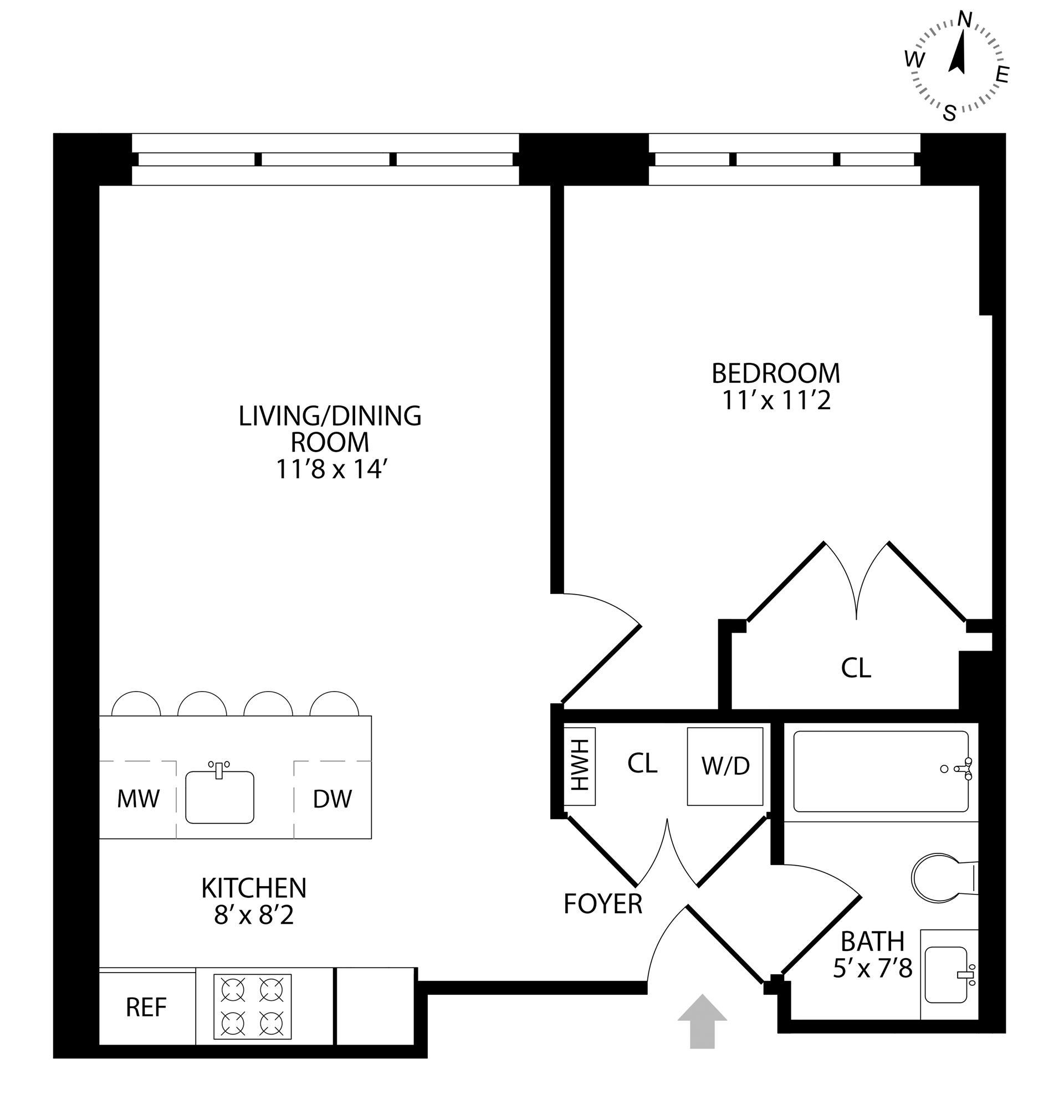 Floor plan of 511 Lafayette Avenue, 2B - Bedford - Stuyvesant, New York
