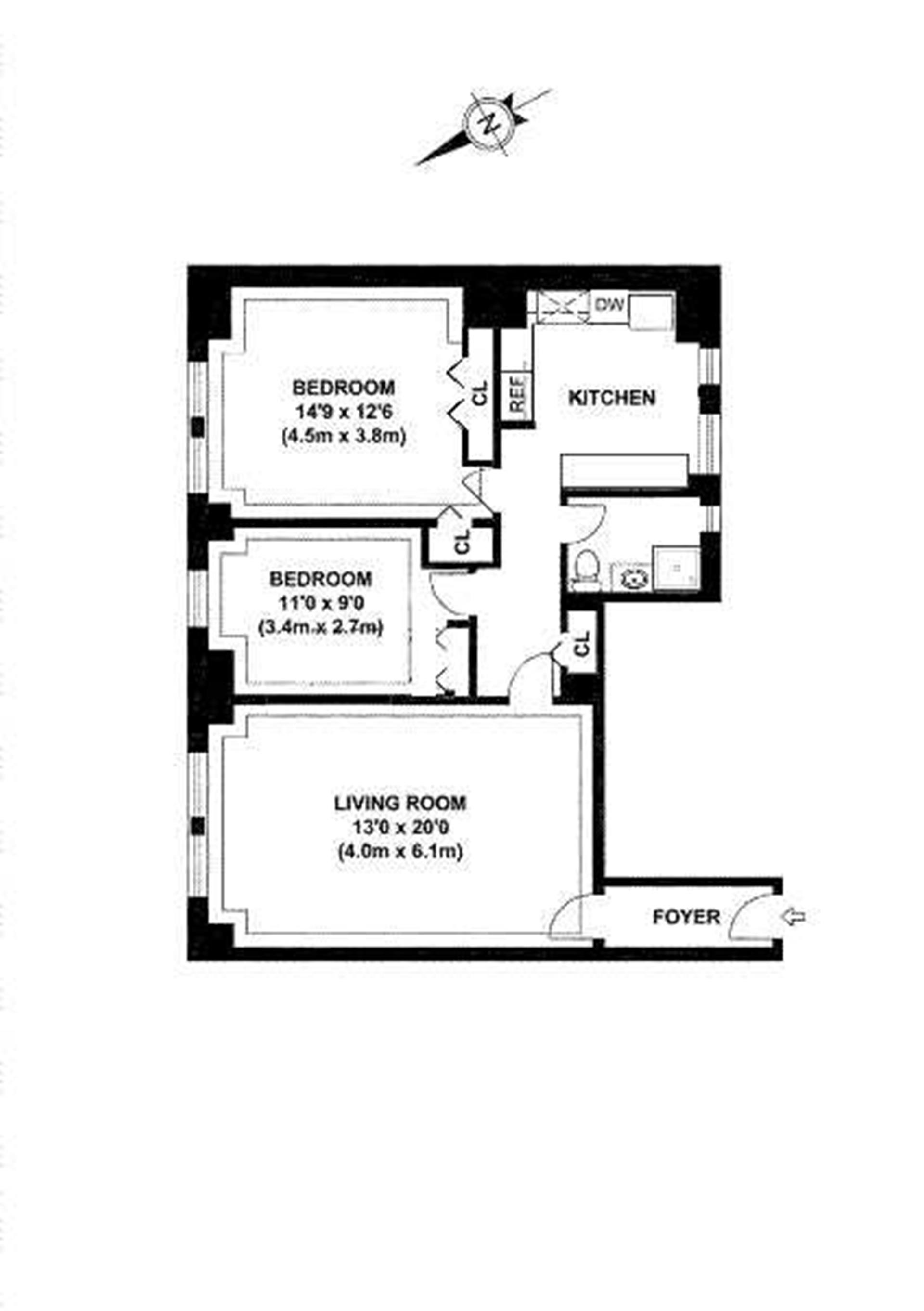 Floor plan of 321 East 43rd St, 812 - Turtle Bay, New York