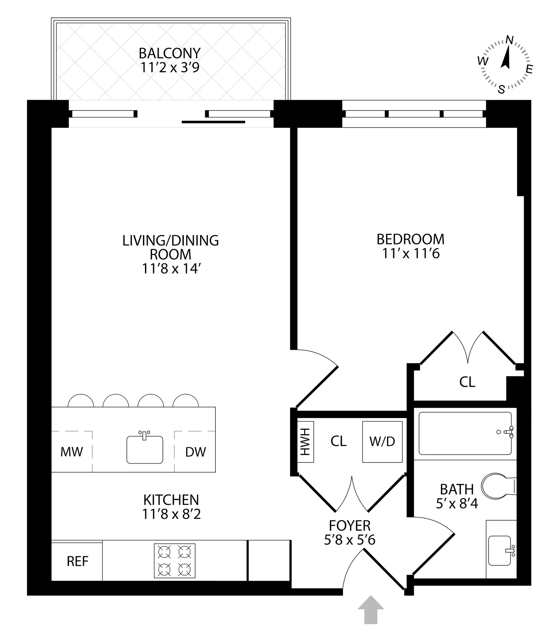 Floor plan of 511 Lafayette Avenue, 3B - Bedford - Stuyvesant, New York