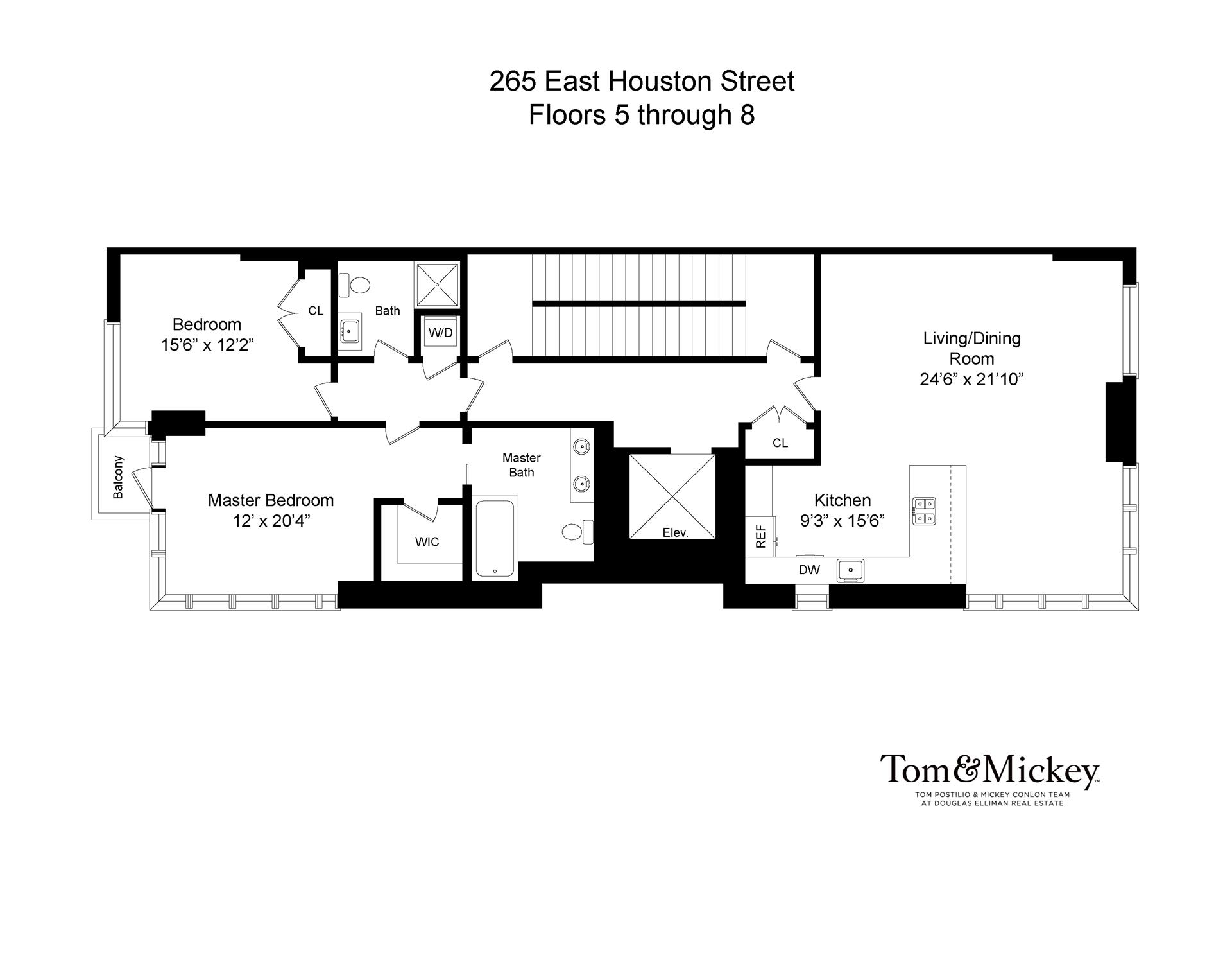 Floor plan of 265 East Houston St, 5THFLR - Lower East Side, New York